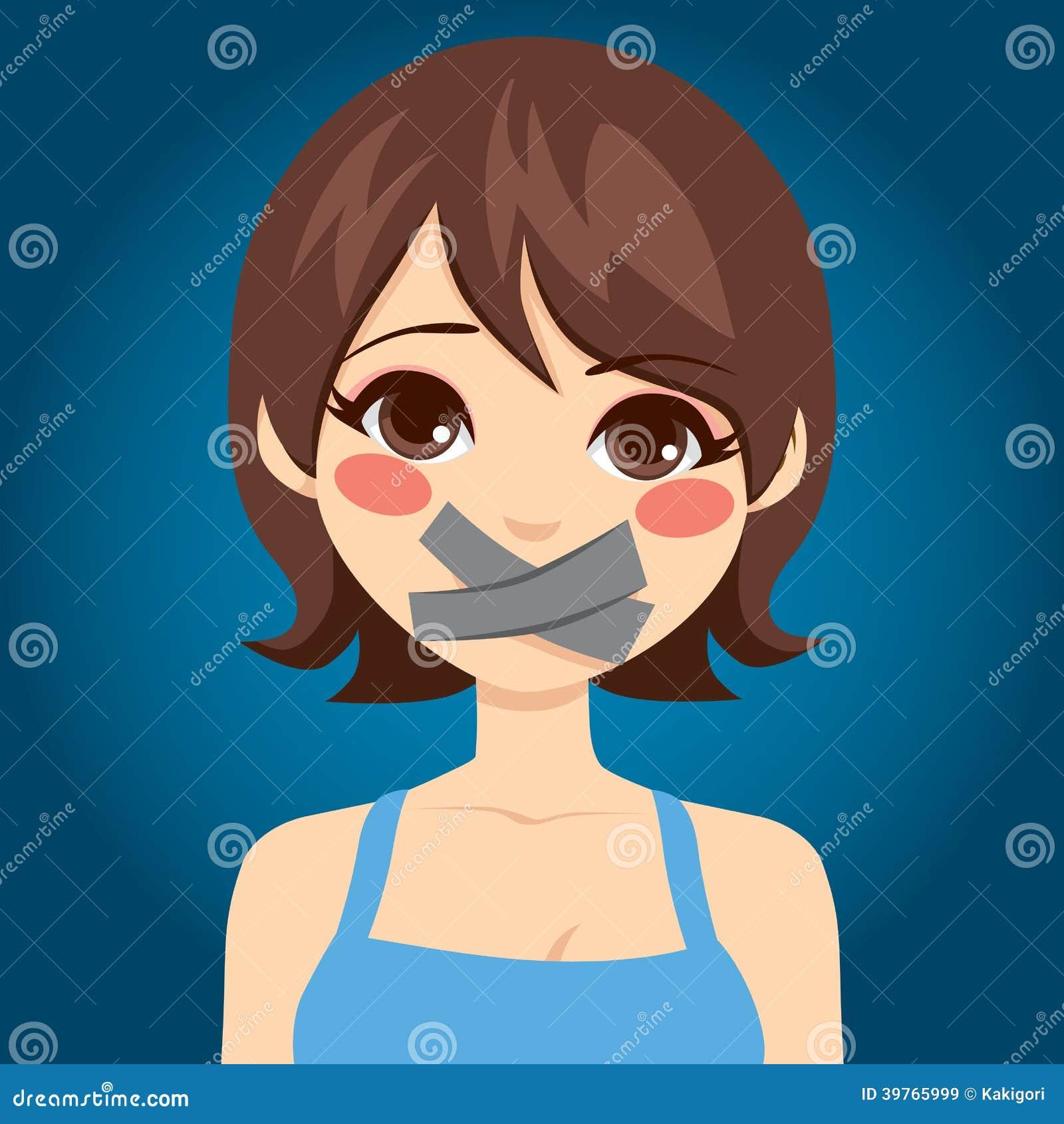 La femme a fait taire la bouche illustration de vecteur image 39765999 - La femme a la bouche fendue ...