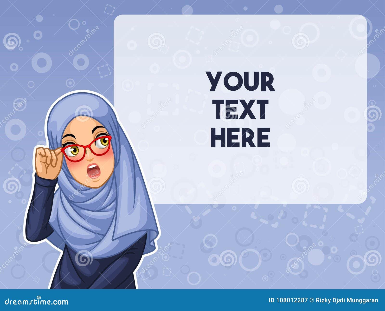 La femme musulmane choquée avec tenir ses verres dirigent l illustration