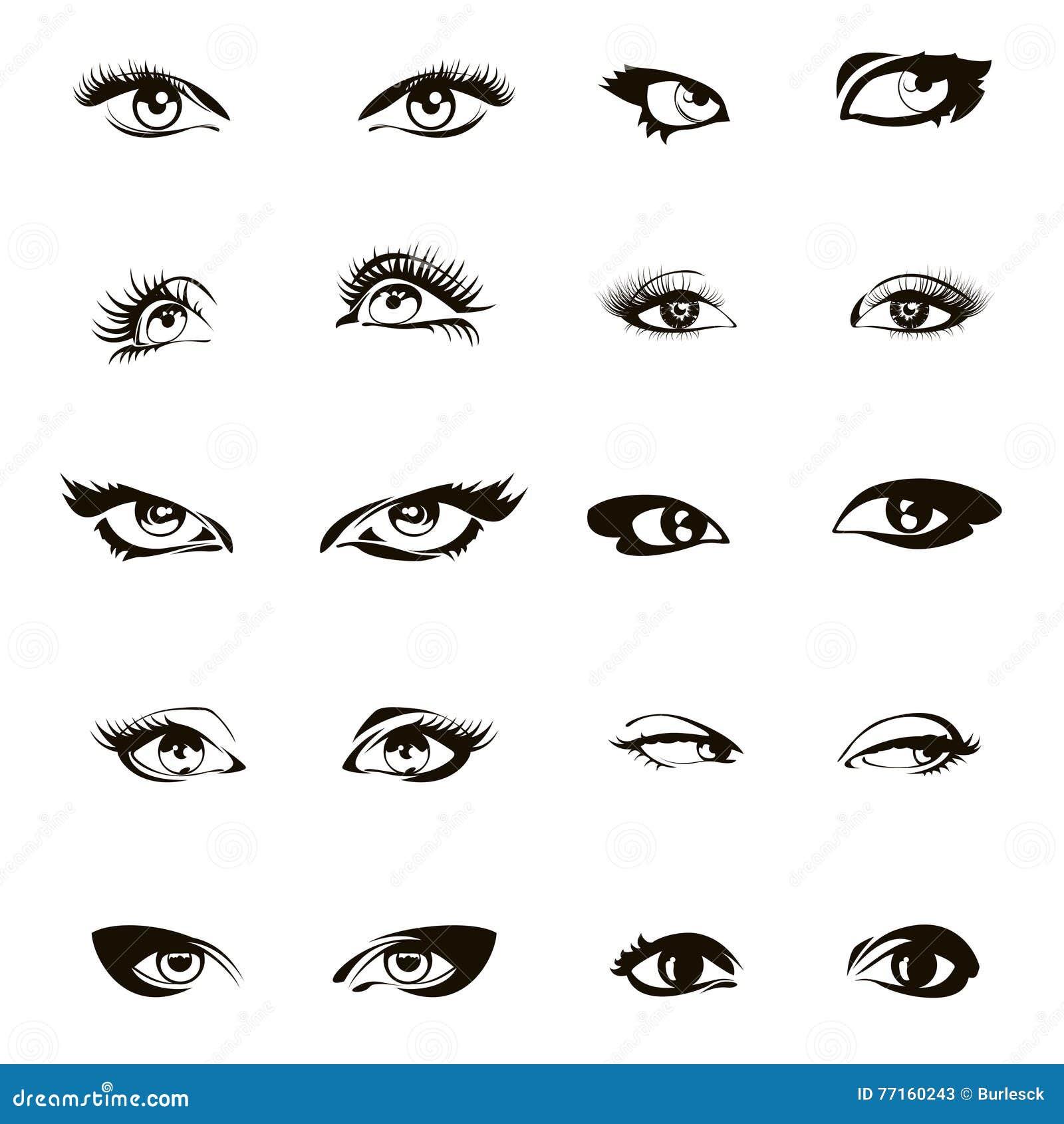 La femme observe le vecteur Beau ensemble d oeil ou dessin femelle d encre