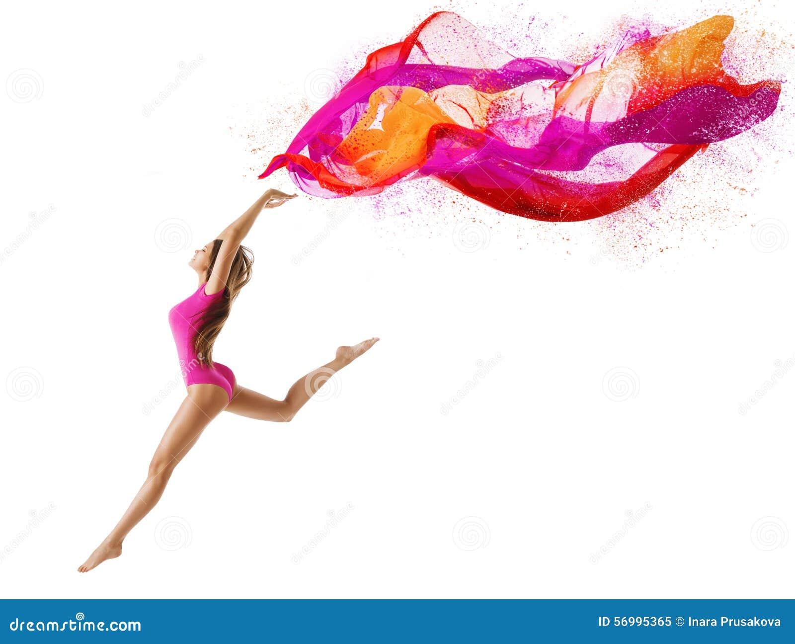 La femme sautent le sport, danseuse de fille, tissu de rose de mouche de gymnaste