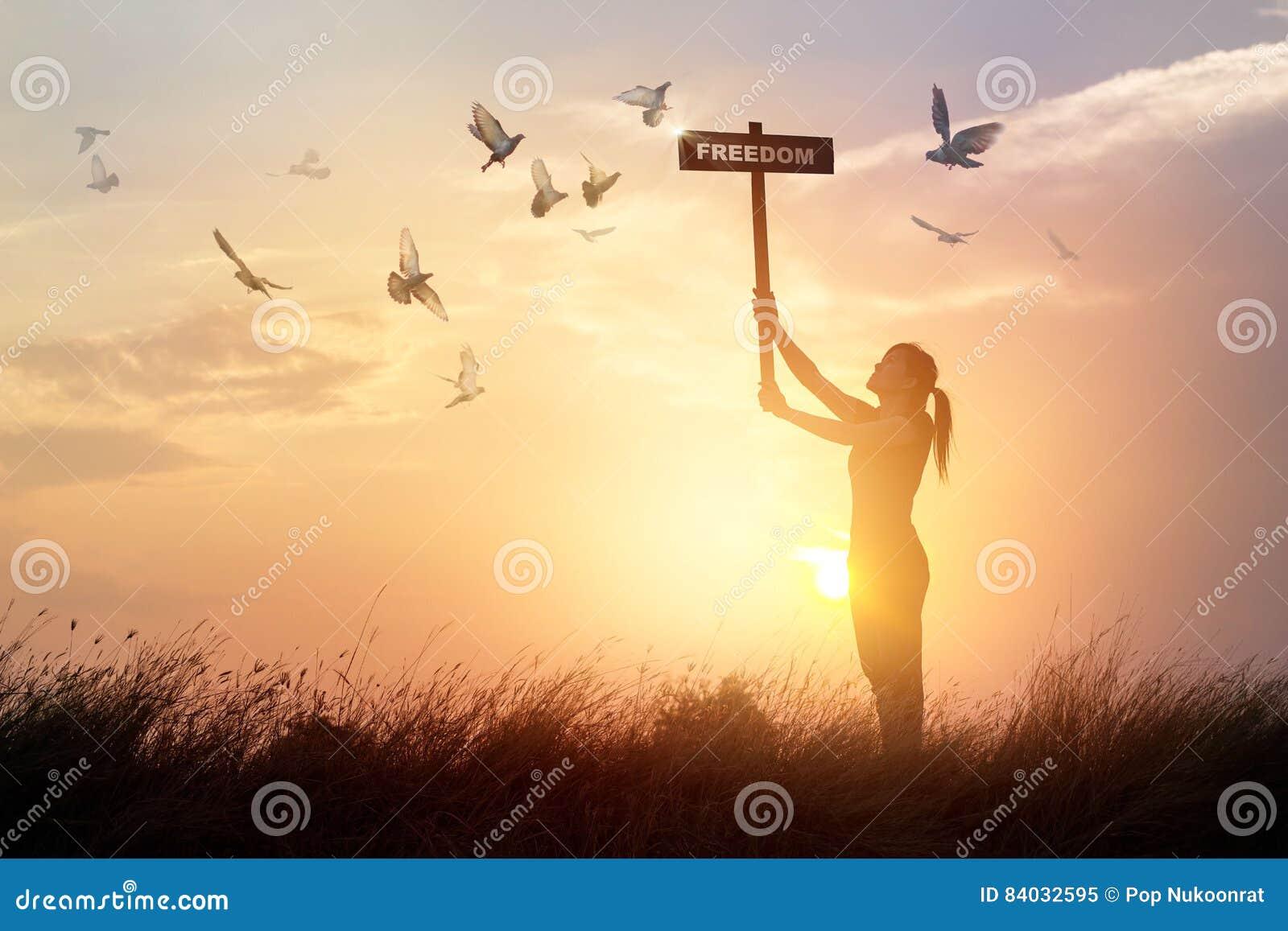 la femme tient un signe avec des oiseaux de libert et de vol de mot sur le coucher du soleil. Black Bedroom Furniture Sets. Home Design Ideas