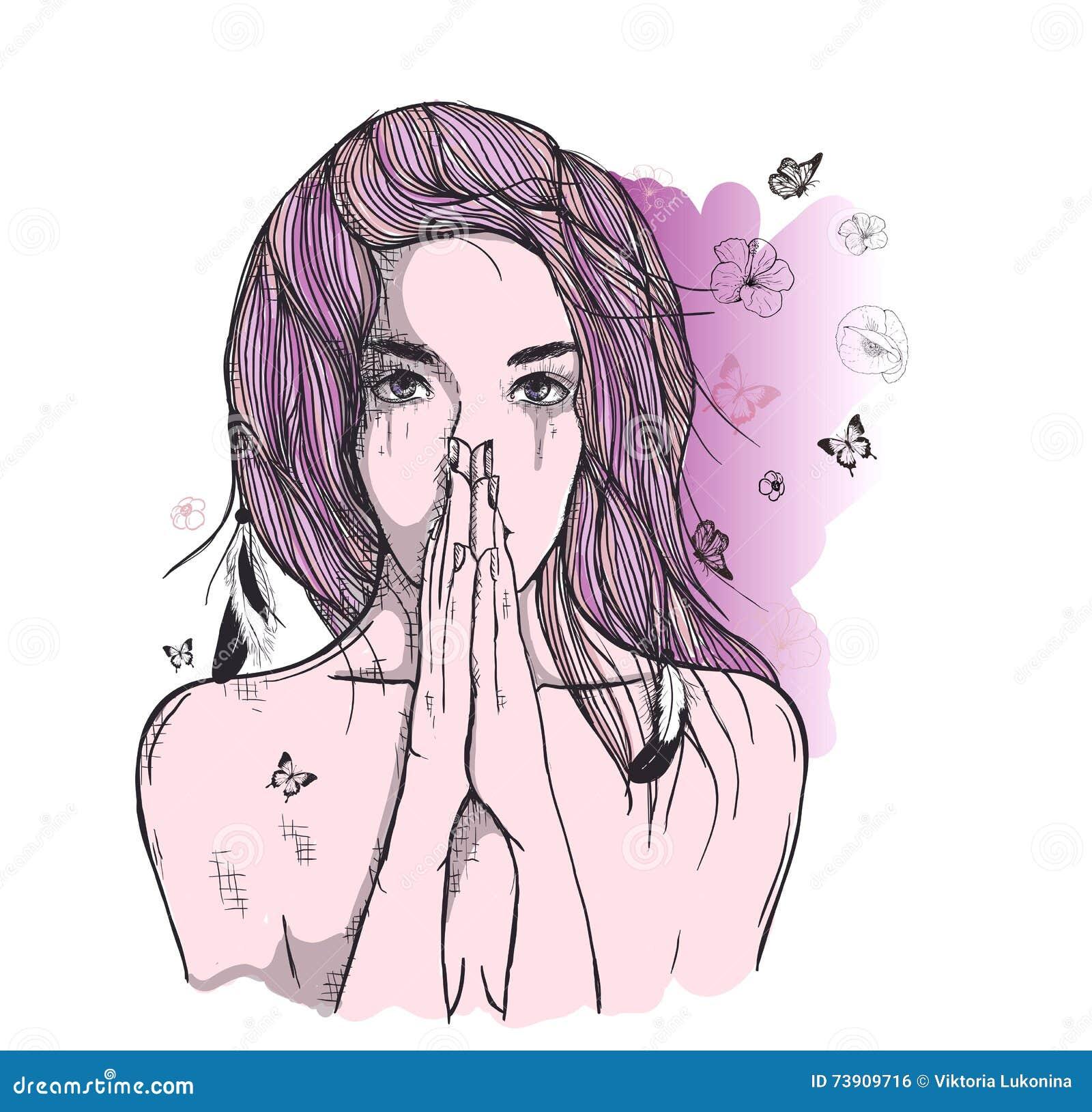 La Femme Triste Prie Illustration De Vecteur Illustration Du