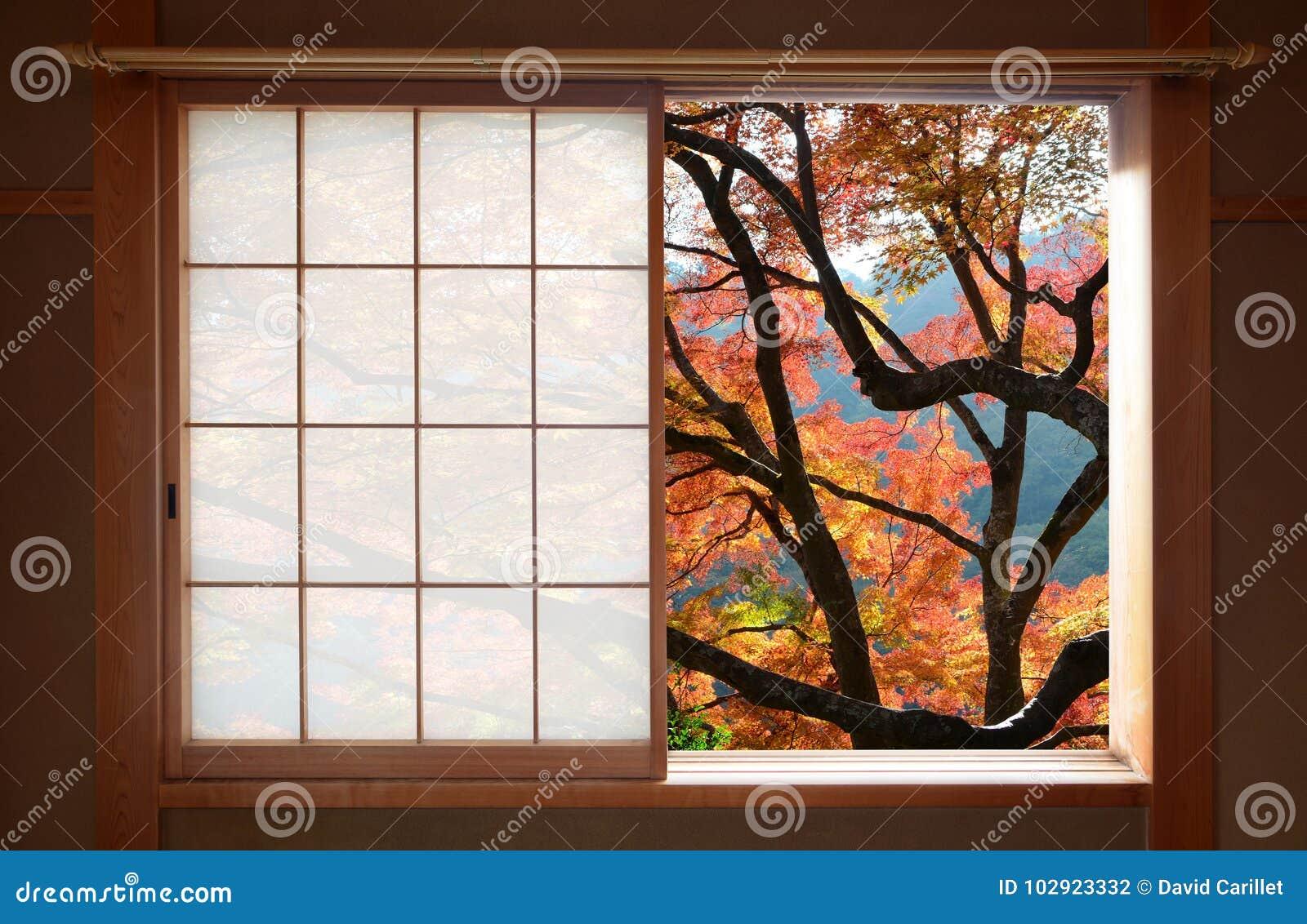 la fen tre en bois japonaise simple de cadre avec une vue gentille d 39 rable d 39 automne part photo