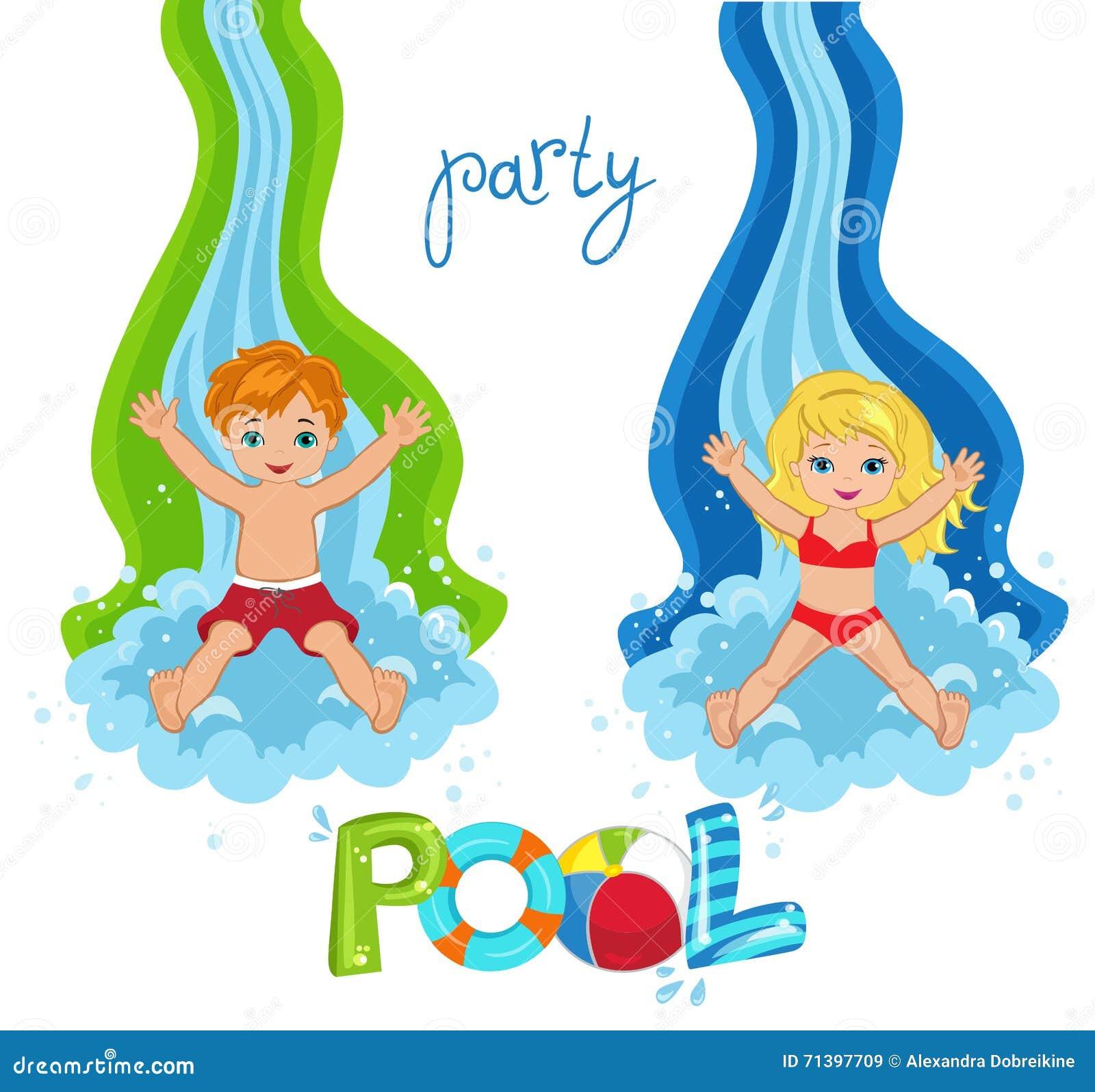 La festa in piscina dei bambini su fondo illustrazione for Party in piscina