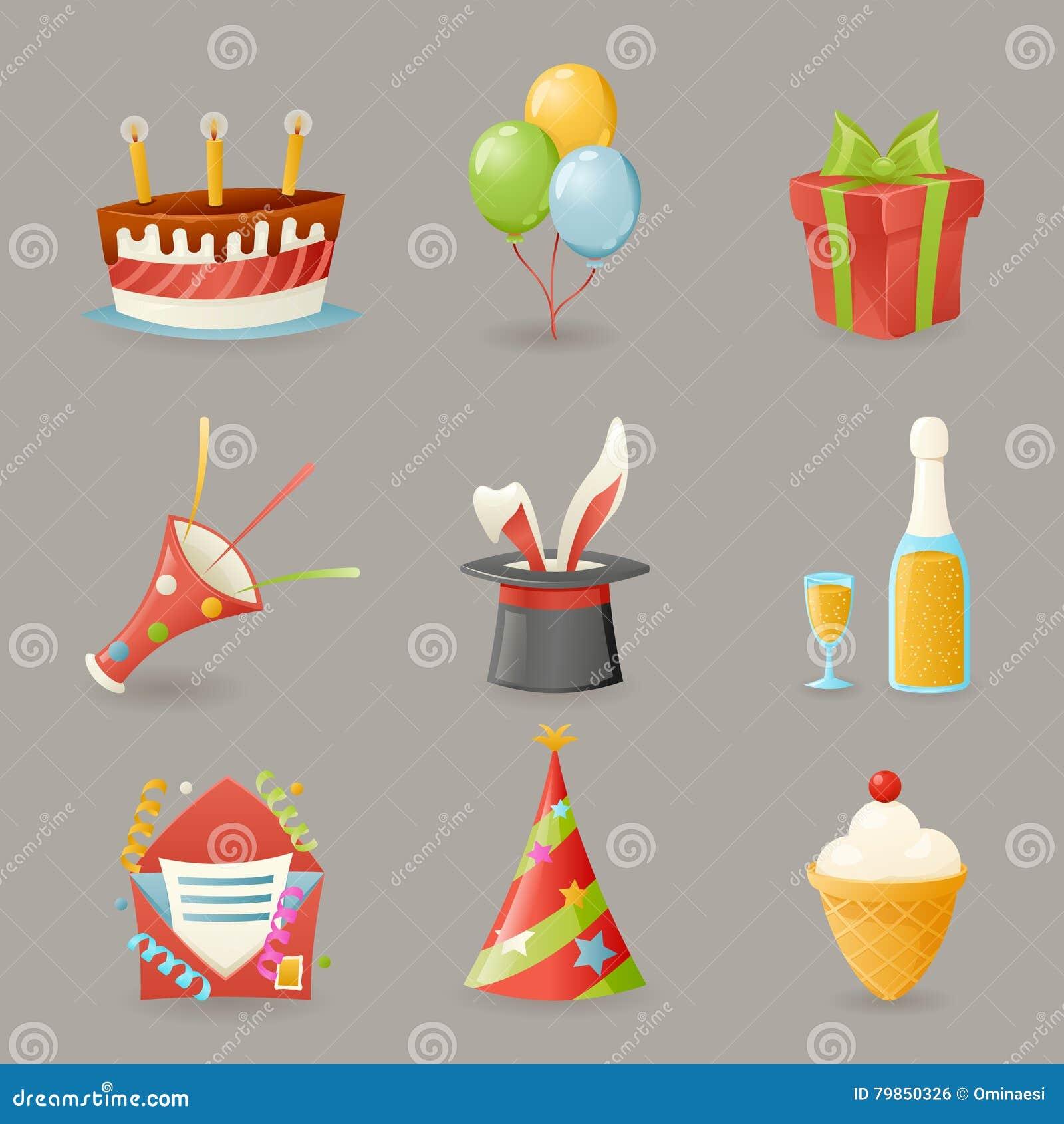 La fiesta de cumpleaños celebra el ejemplo realista del vector del diseño de la historieta de los iconos y del sistema de símbolo