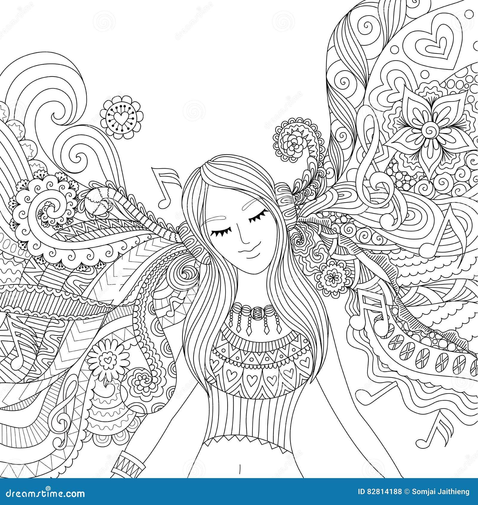 La Fille Ecoutent Livre De Coloriage D Adulte De Musique Illustration De Vecteur Illustration Du Adulte Musique 82814188