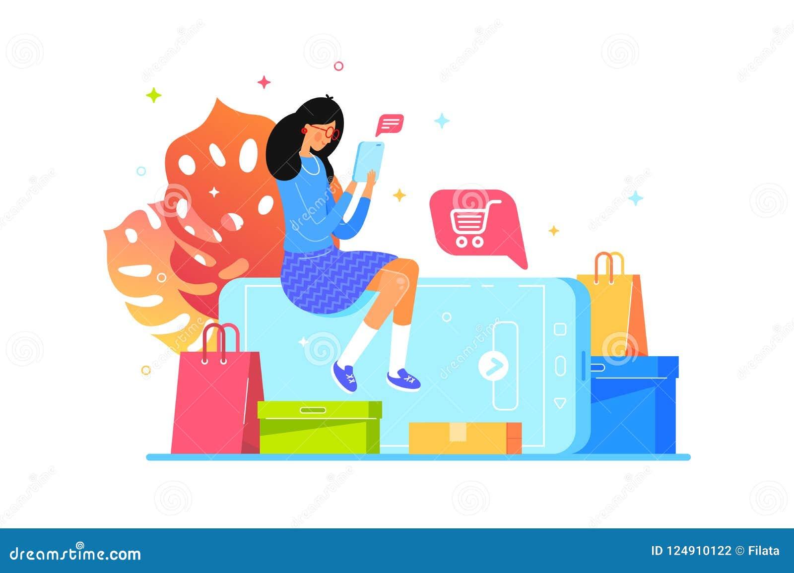 La fille achète en ligne avec le smartphone, achats de Web