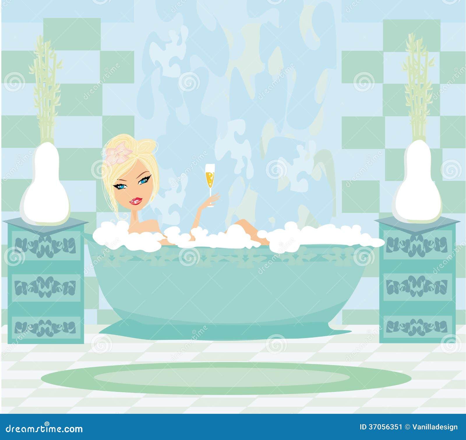la fille d tend dans le bain image stock image 37056351. Black Bedroom Furniture Sets. Home Design Ideas