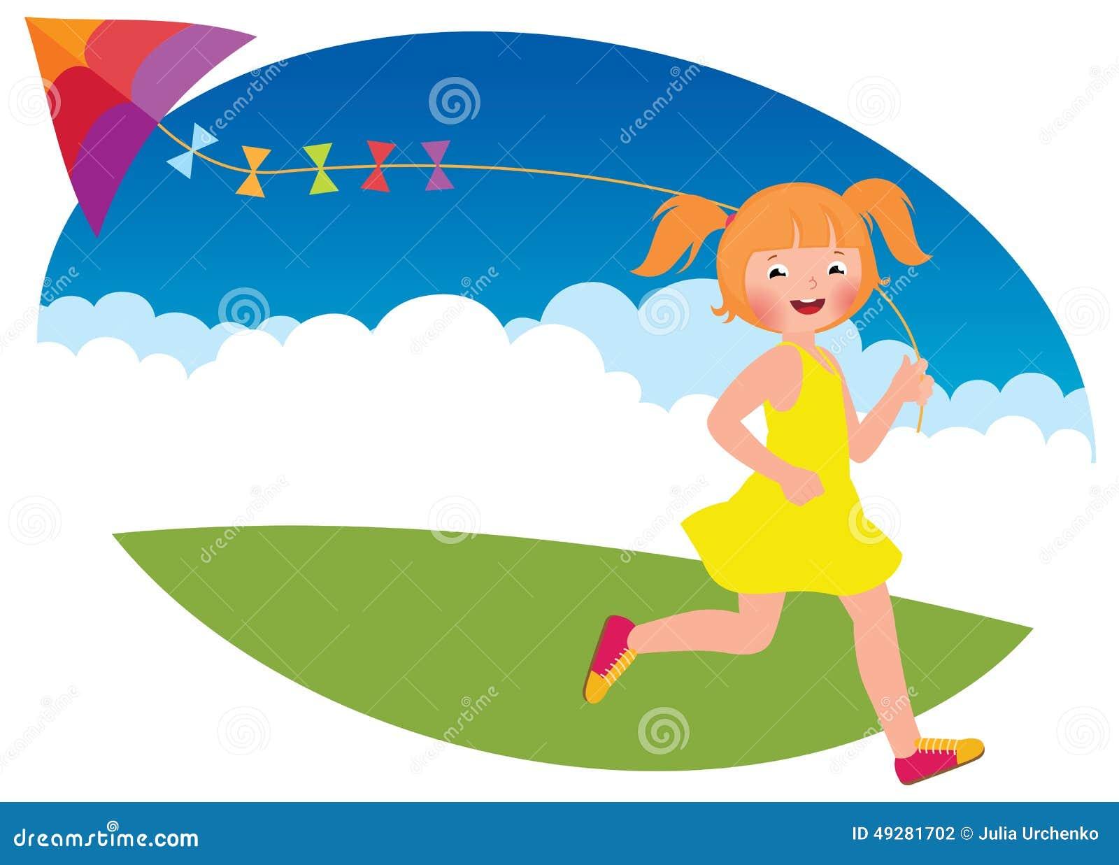 la fille d 39 enfant avec un cerf volant court illustration de vecteur image 49281702. Black Bedroom Furniture Sets. Home Design Ideas