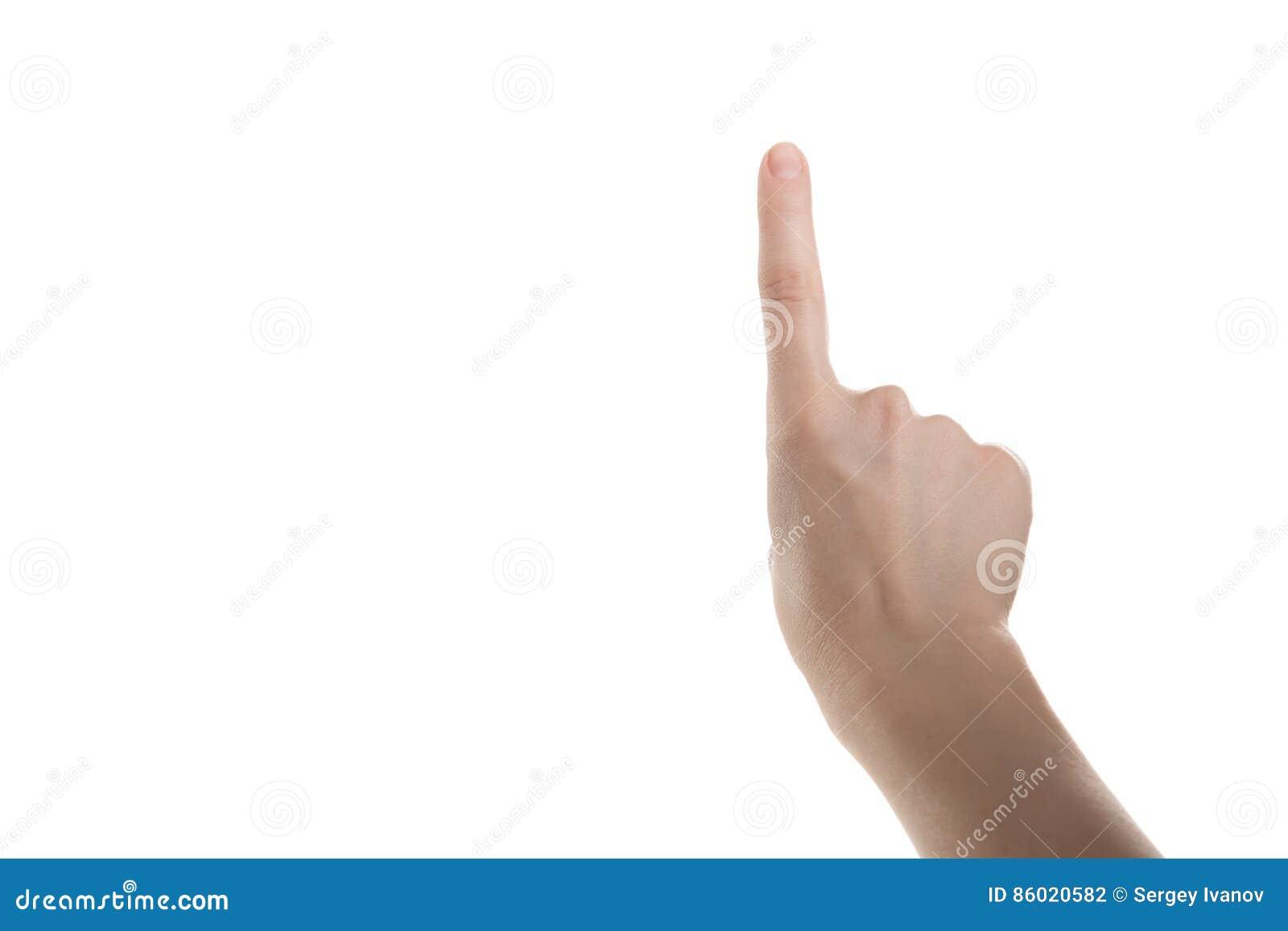 La fille de main montre l index