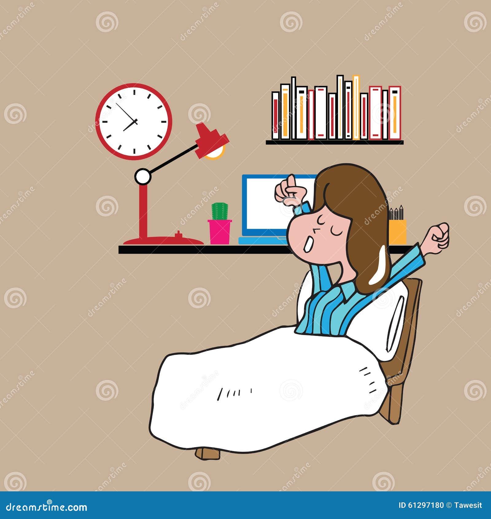 La fille de personnes se réveillent paresseux