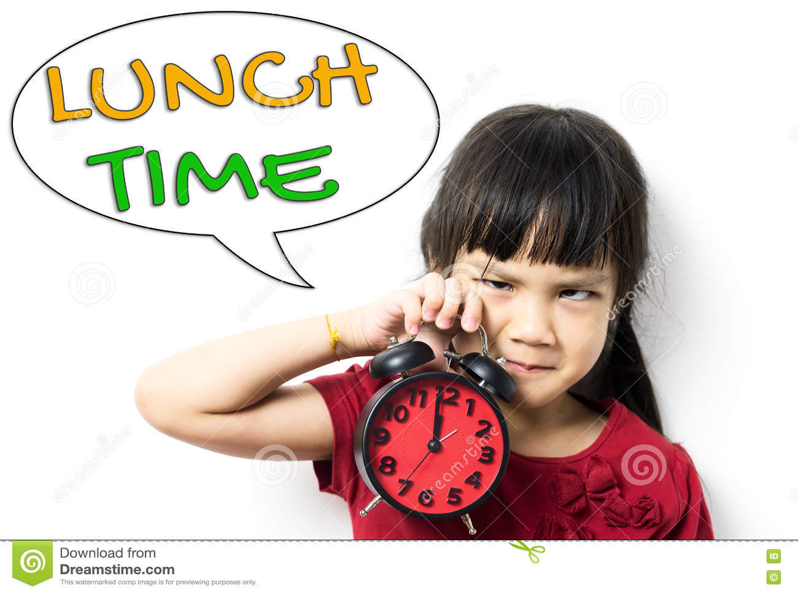 La fille demande la pause de midi