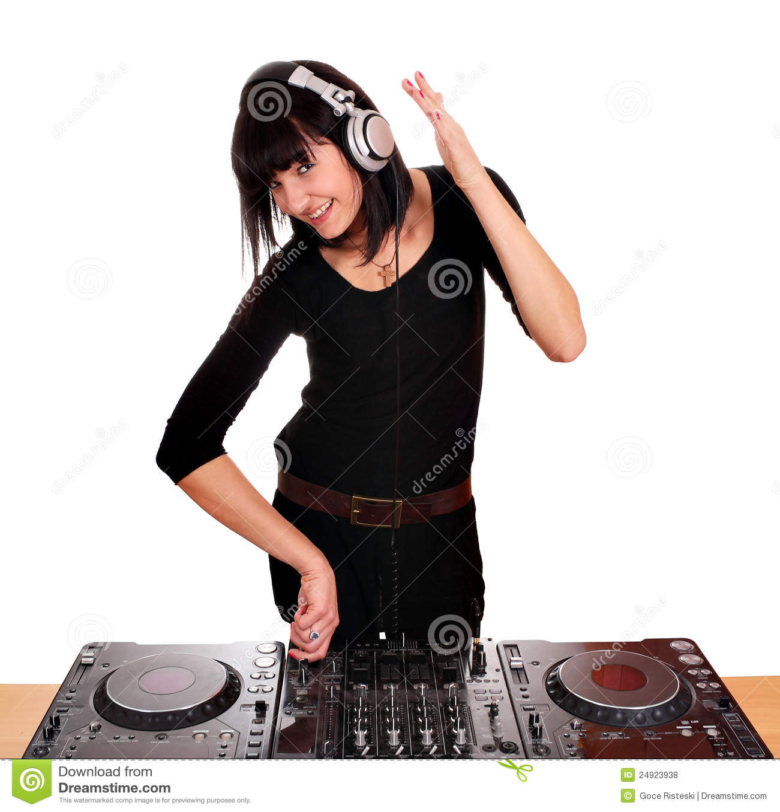 la fille dj jouent la musique photos libres de droits image 24923938. Black Bedroom Furniture Sets. Home Design Ideas