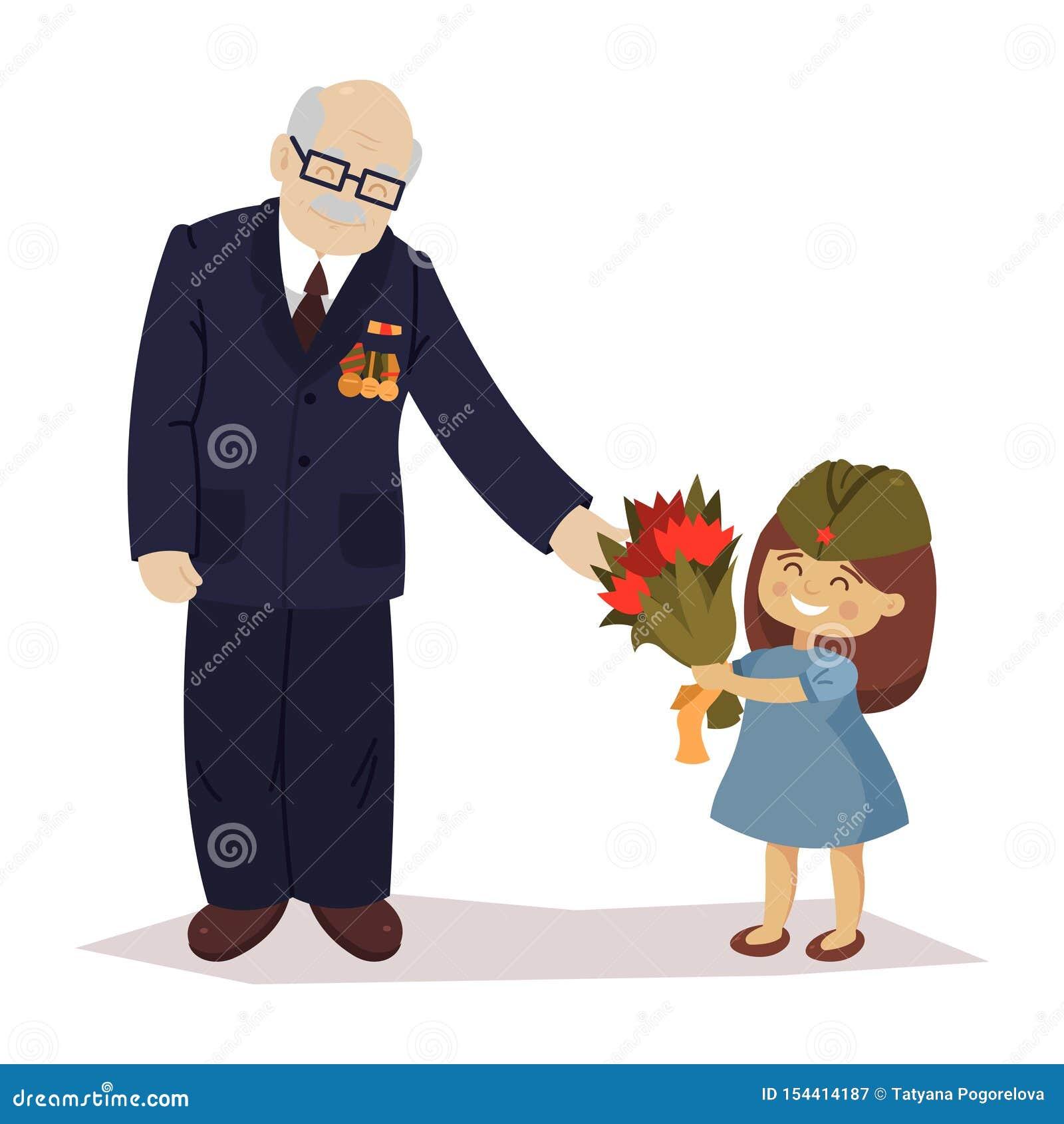 La Fille Donne Des Fleurs Au Vétéran 9 Mai Jour De Victoire