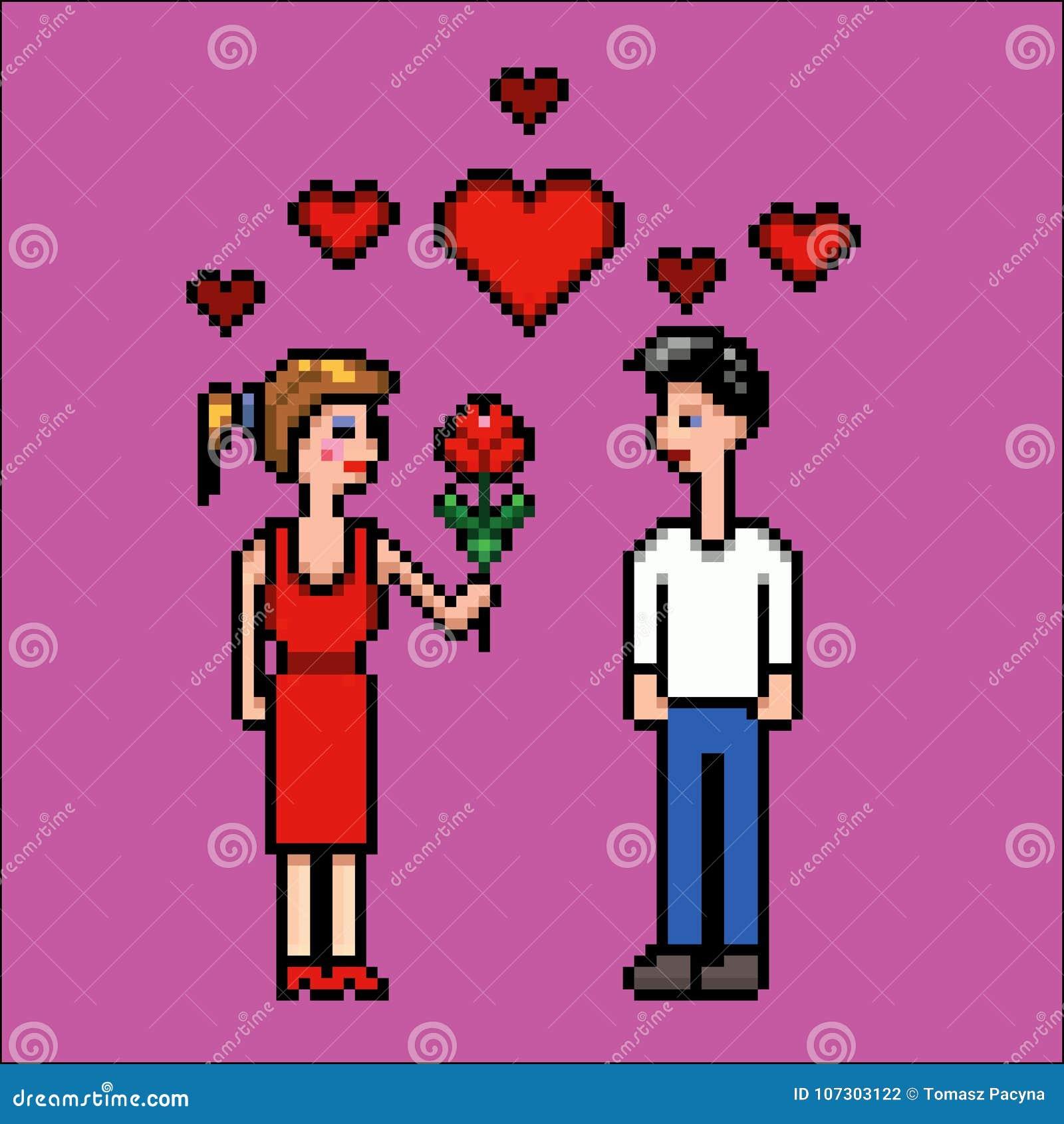 La Fille Donne La Fleur à Un Garçon Jour De Valentines