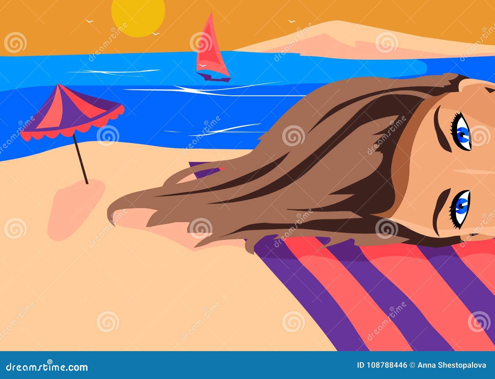 La fille fait un selfie contre la mer