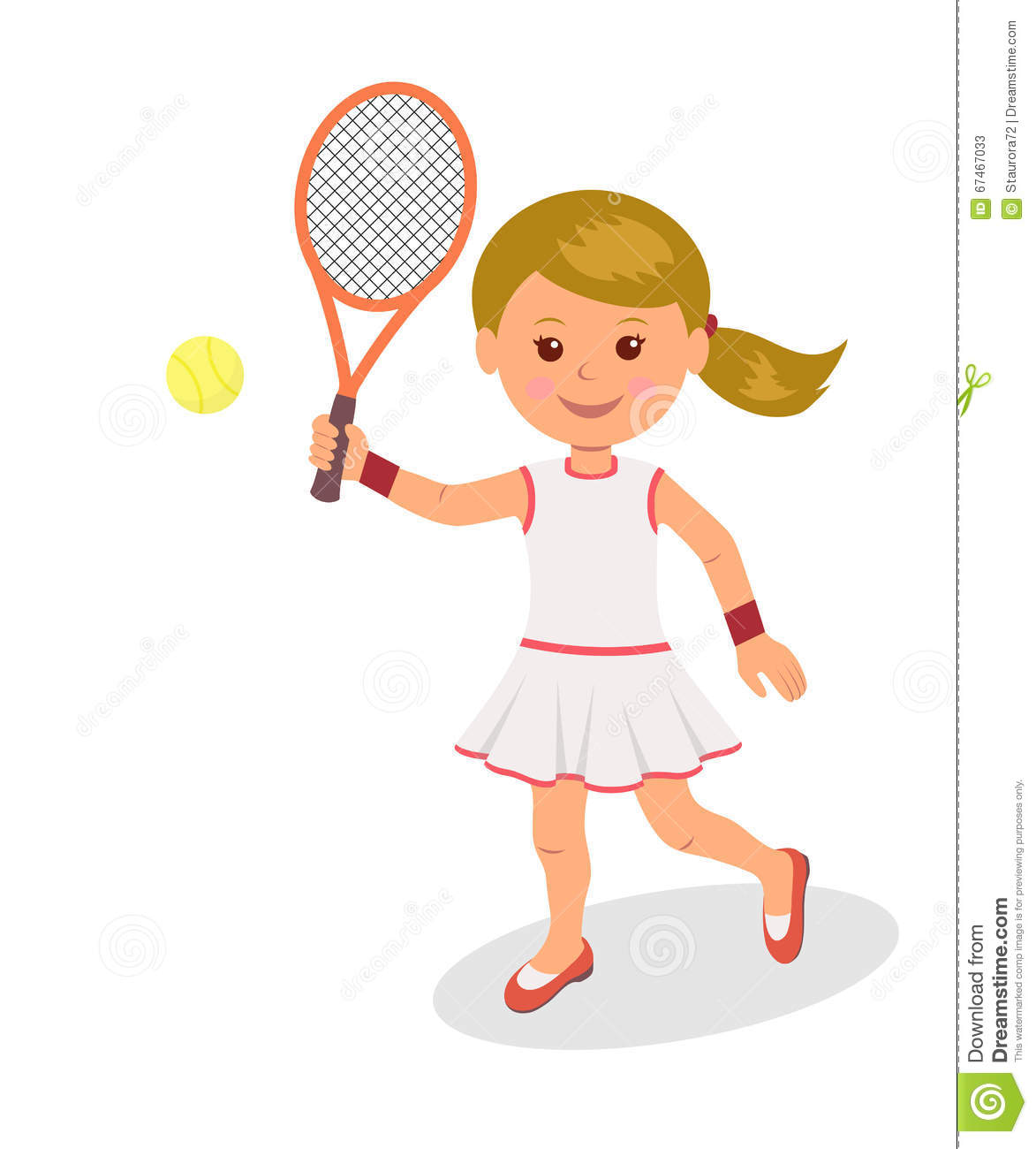 la fille joue au tennis le caract re d 39 une femme avec la raquette et la balle de tennis sur un. Black Bedroom Furniture Sets. Home Design Ideas