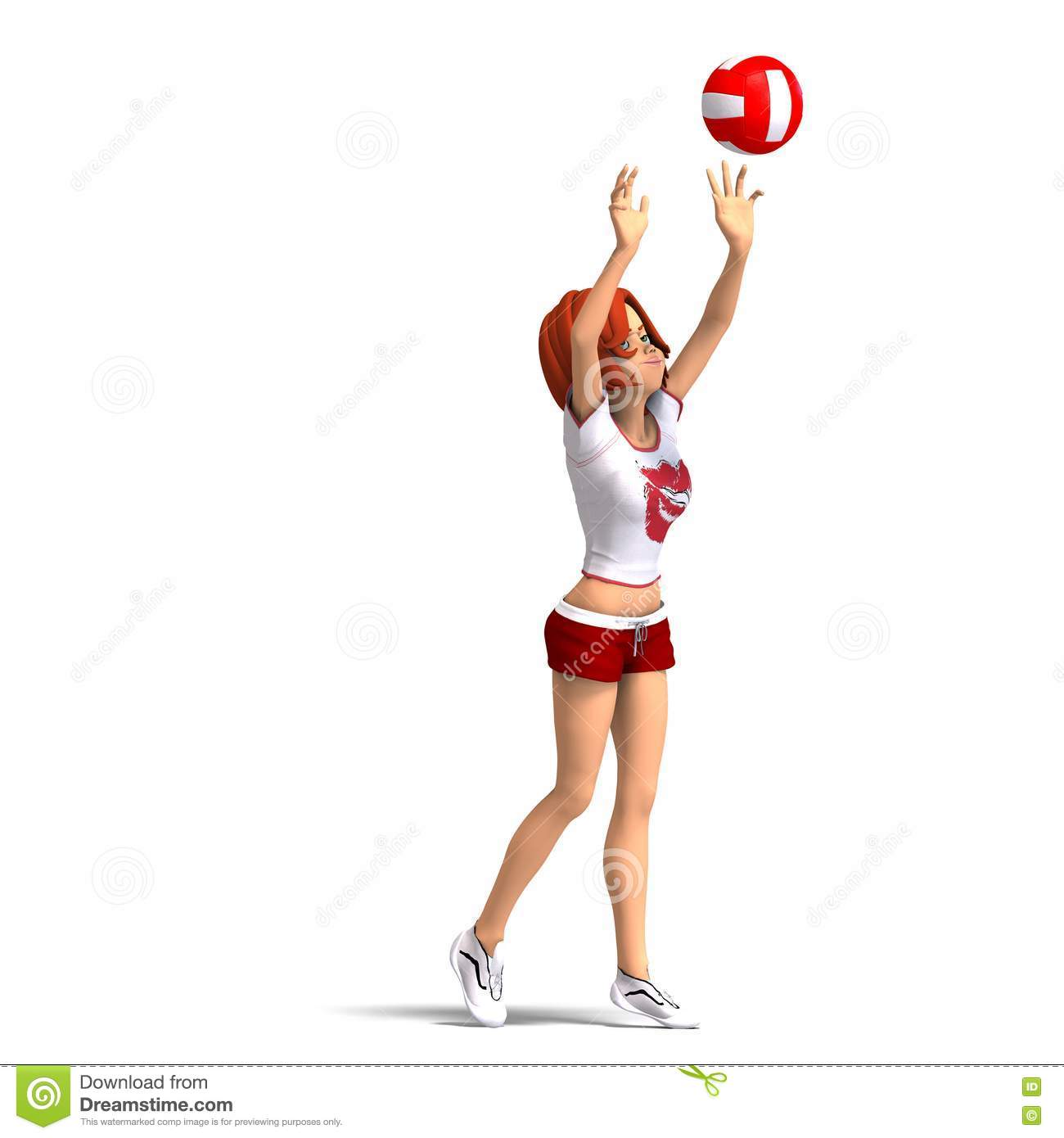 La fille joue au volleyball de toon images stock image - Fille joue au foot ...