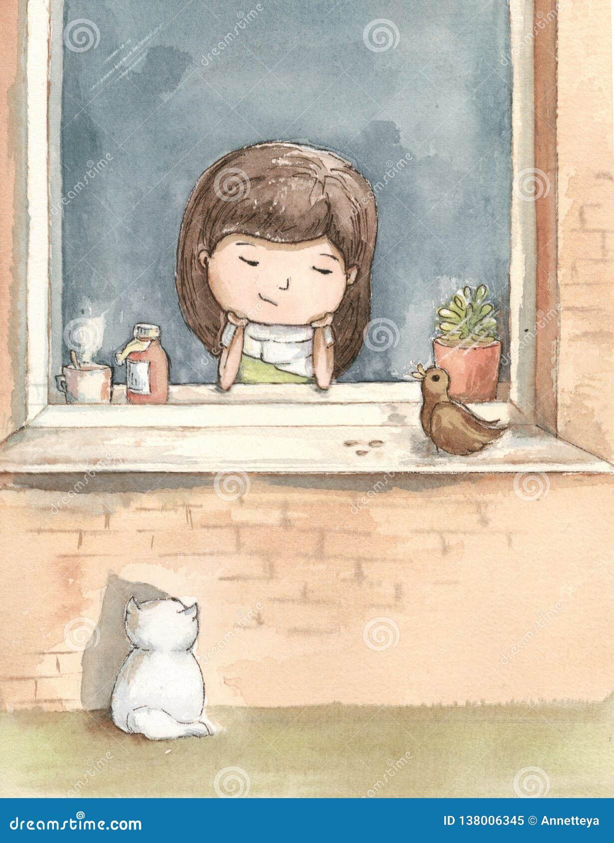 La fille malade s ennuie avec la fenêtre avec un chat blanc