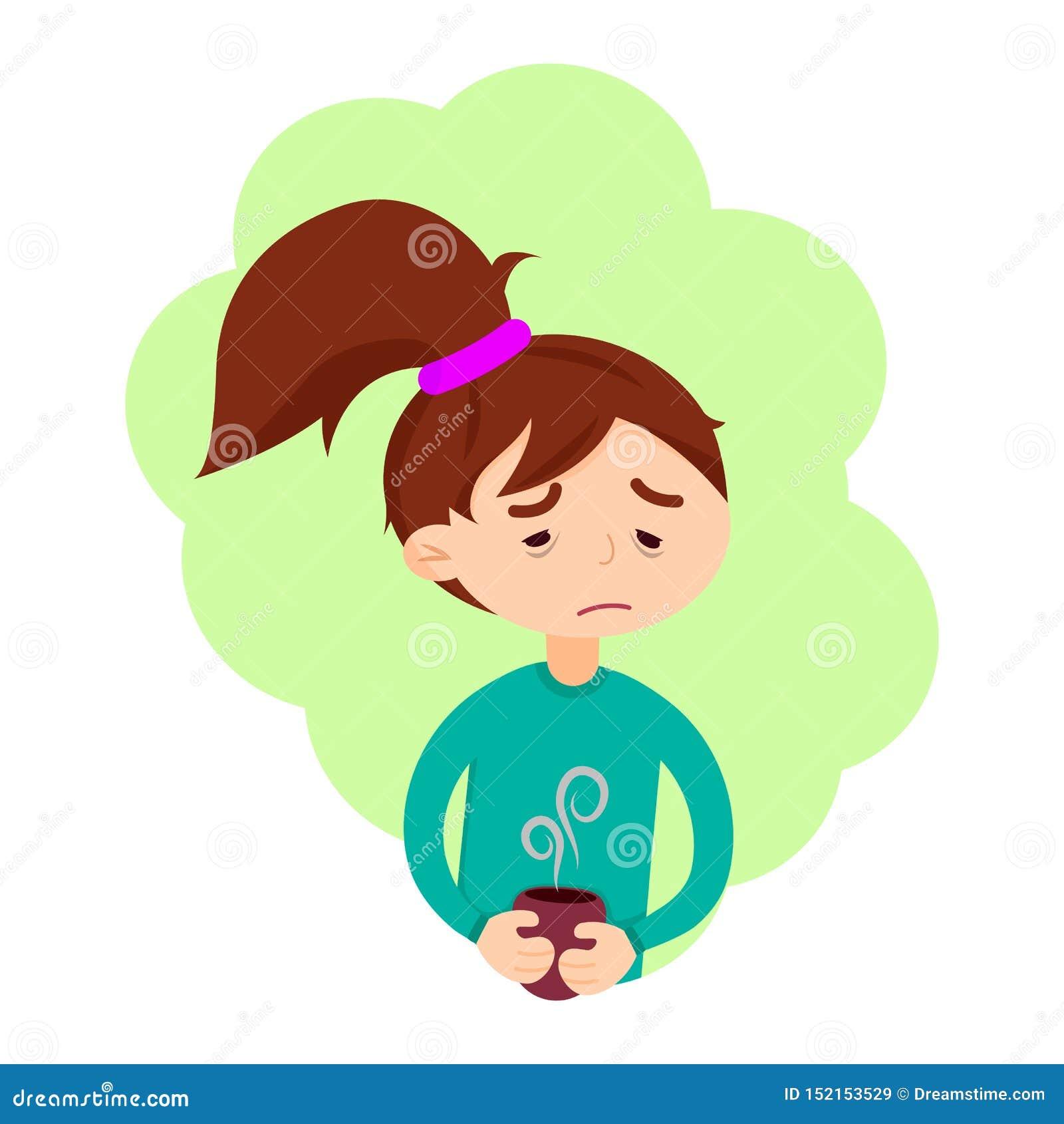 La fille mignonne ont la maladie de grippe