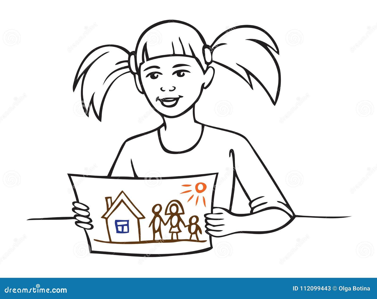Dessin D Une Chambre D Enfant la fille montre le dessin d'enfant illustration de vecteur