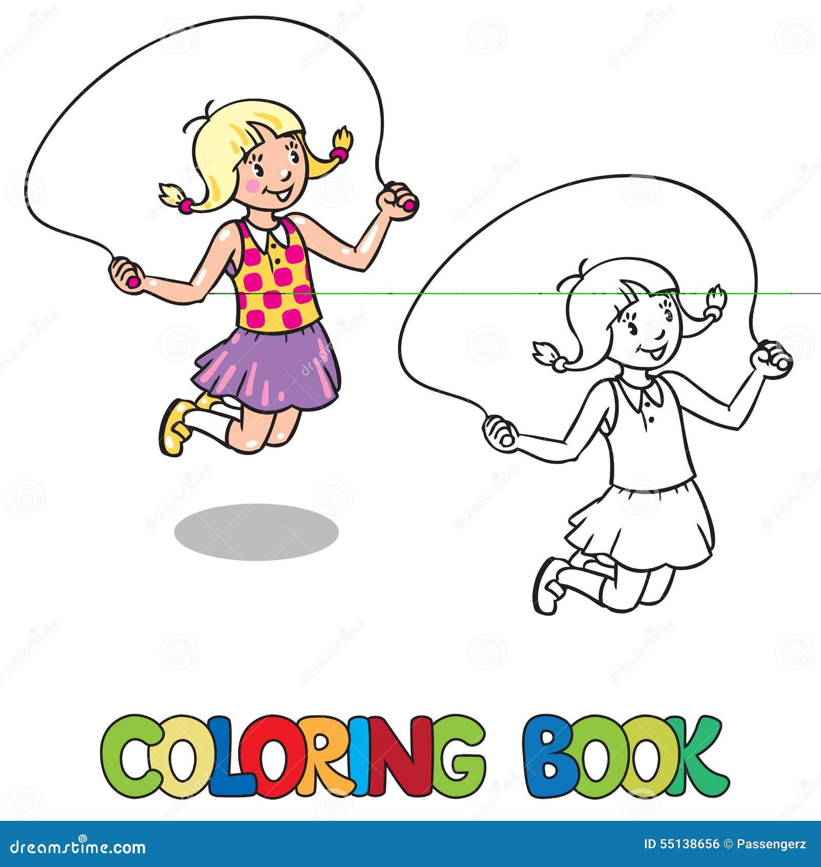 La fille saute avec la corde Livre de coloration