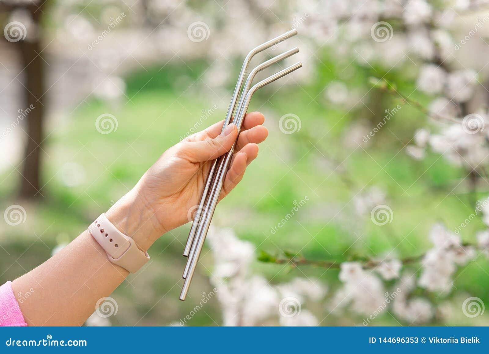 La fille tient des pailles d acier inoxydable pour r?duire la quantit? de d?chets en plastique dans l environnement