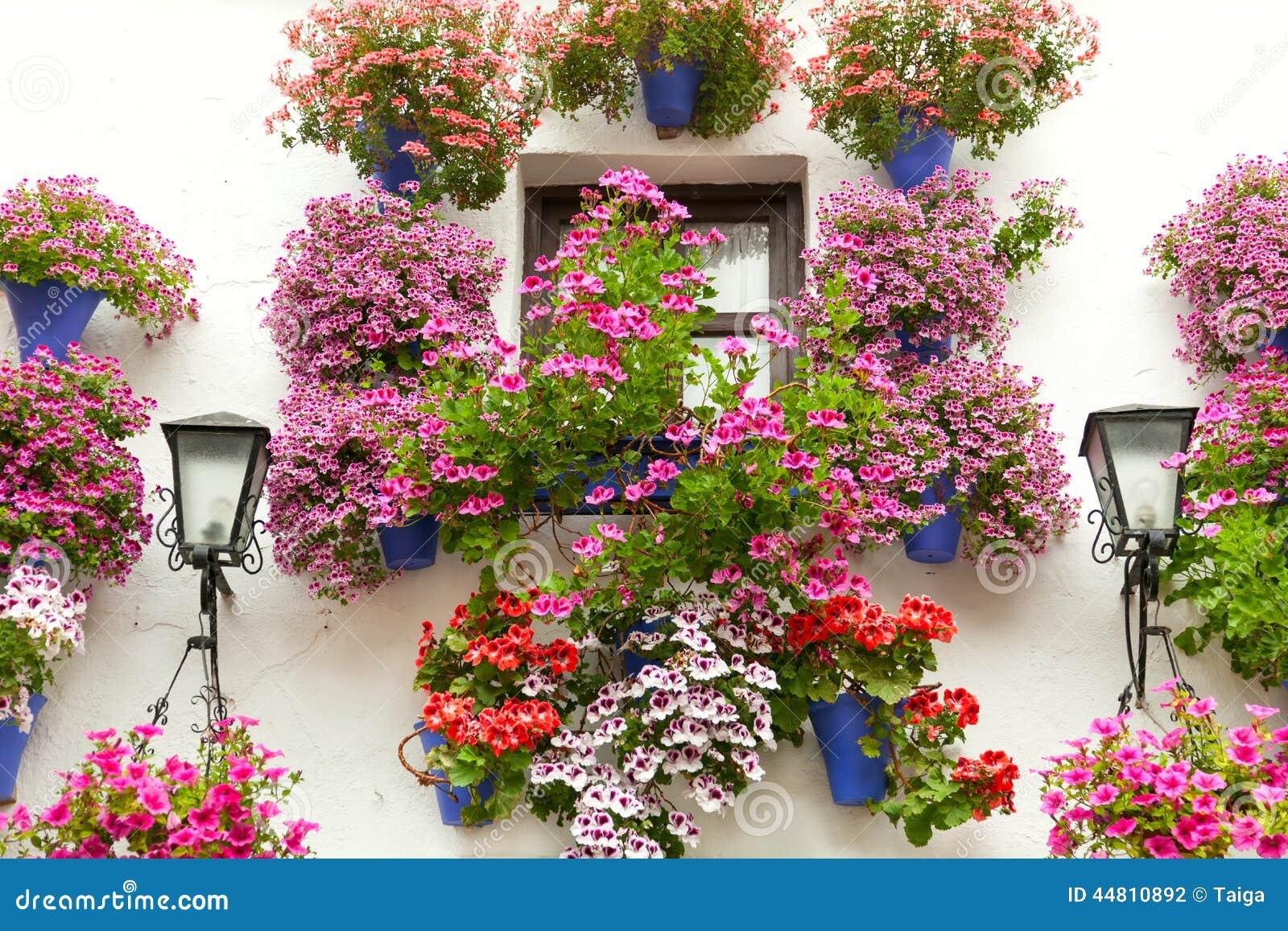 La finestra tipica ha decorato i fiori rosa e rossi spagna mediterra fotografia stock - Fiori da finestra ...