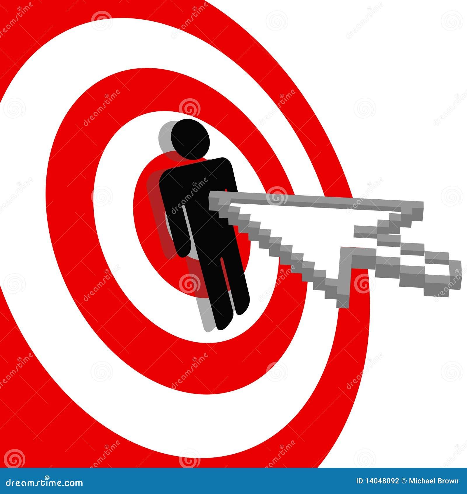 La flecha del Internet hace clic la blanco del ojo de toros