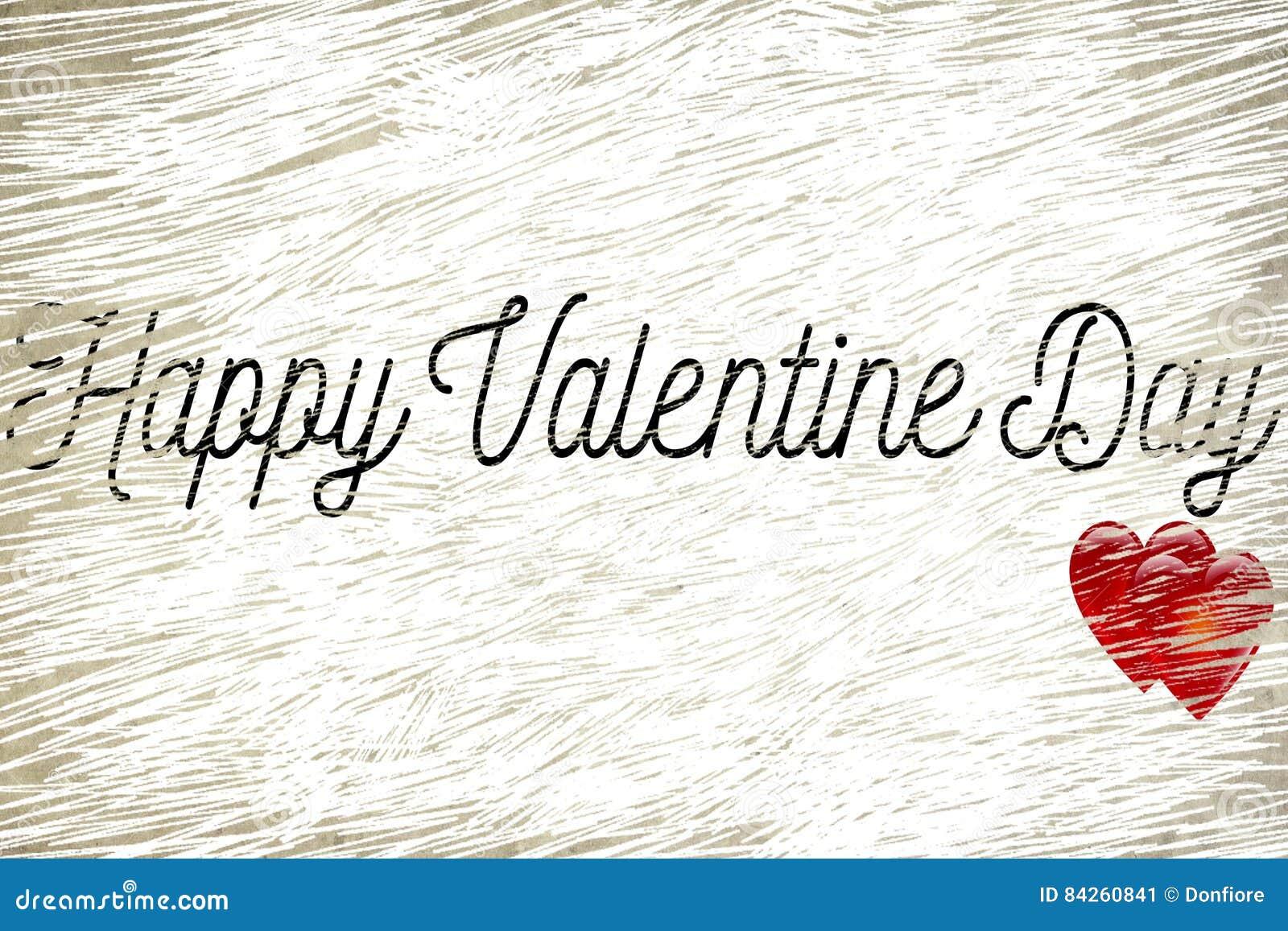 La forma felice di parola di giorno di S. Valentino sul vecchio fondo di carta d annata di lerciume con i cuori rossi modella, am