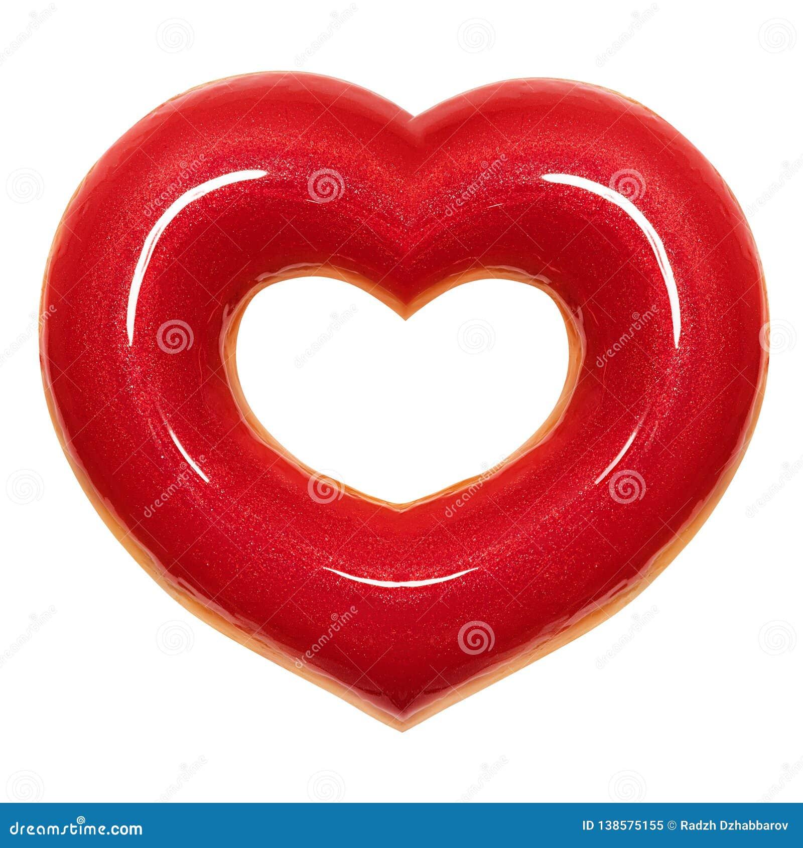 La forme rouge de coeur de beignet avec la vue de face de lustre rouge a isolé le fond blanc avec le chemin de coupure Jour de va