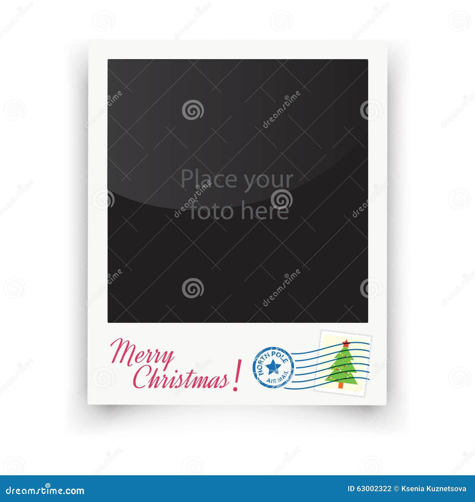 La foto del modello di vettore incornicia la polaroid Natale
