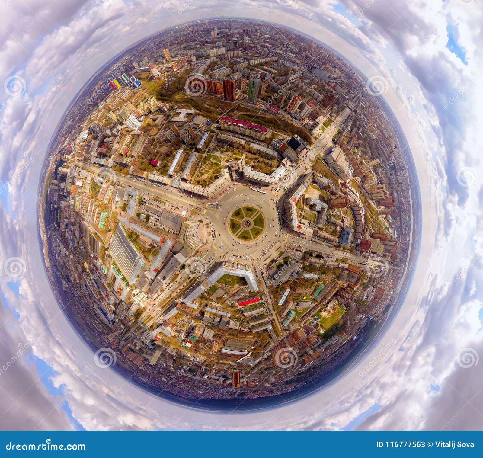 La fotografía aérea es una ciudad urbana moderna