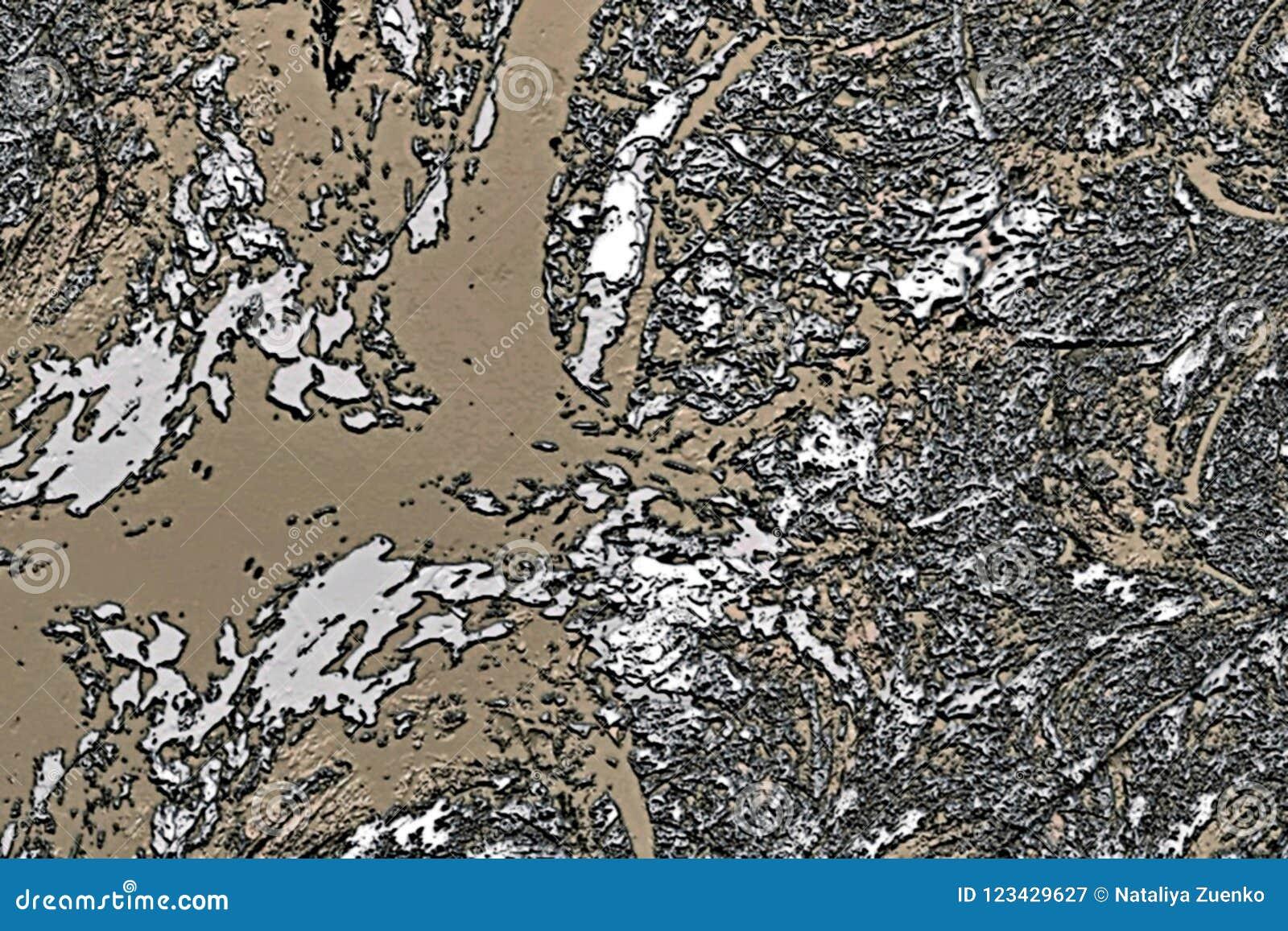 La fractale psychédélique abstraite de fond des taches brouillées chaotiques colorées balayent des courses de différentes tailles