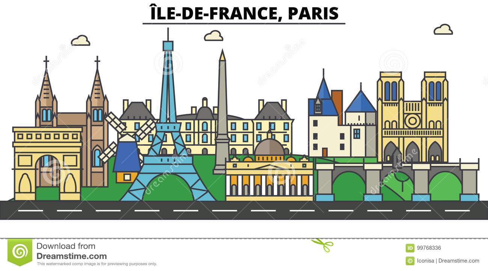 La Francia, Parigi, Ile de France Architettura dell orizzonte della città