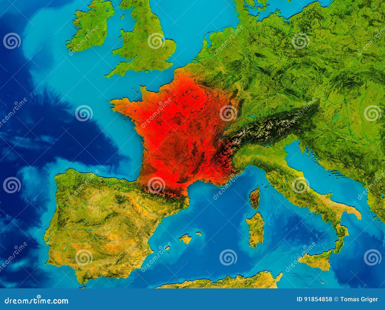 Cartina Francia Fisica In Francese.La Francia Sulla Mappa Fisica Illustrazione Di Stock Illustrazione Di Globo Francese 91854858