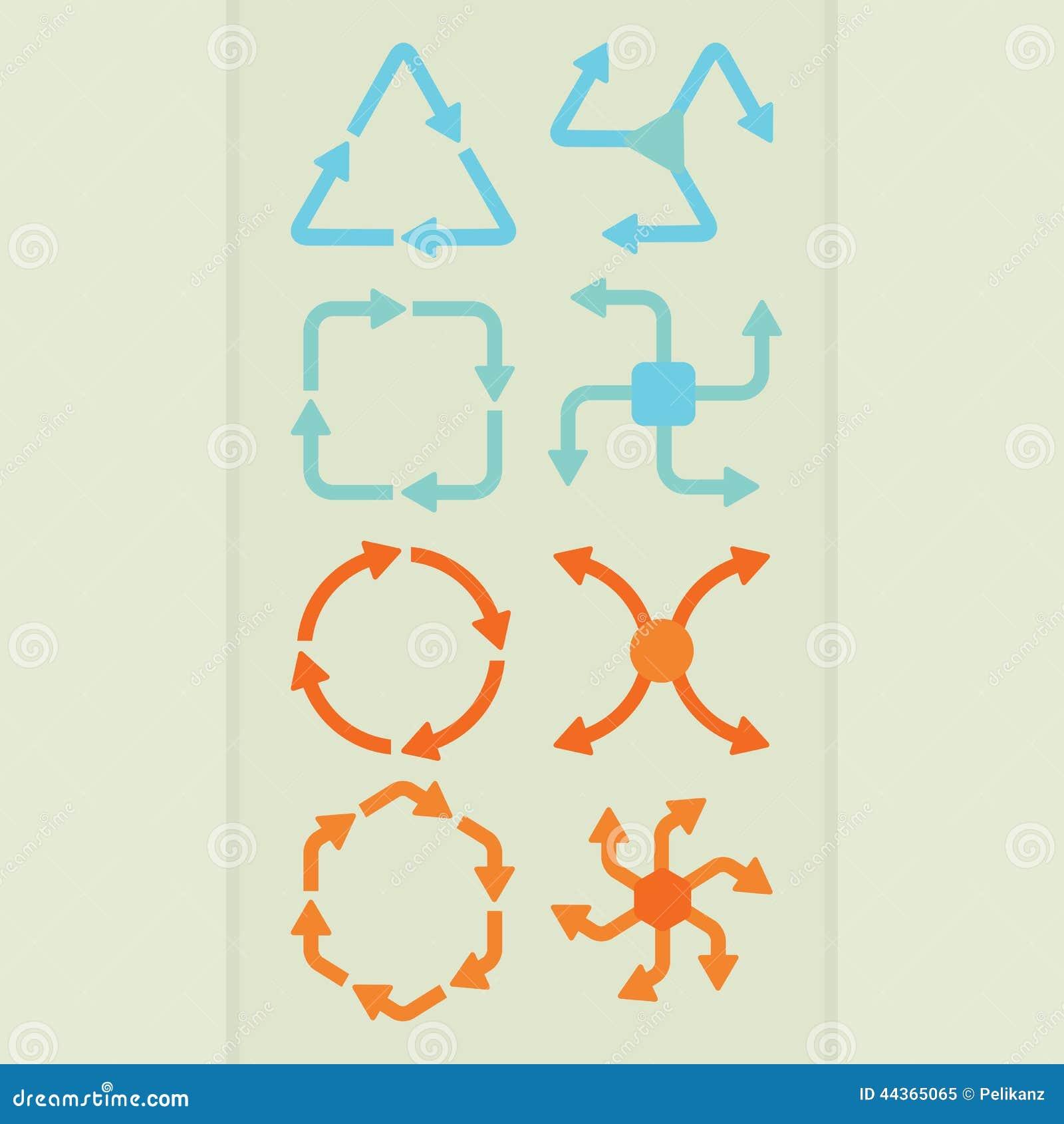La freccia astratta della direzione modella nell insieme di colori differente