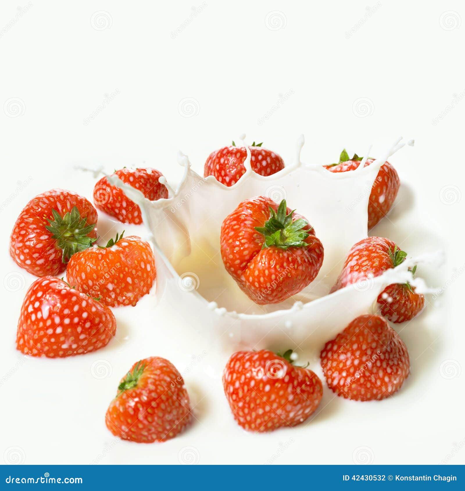 La fresa roja da fruto cayendo en la leche