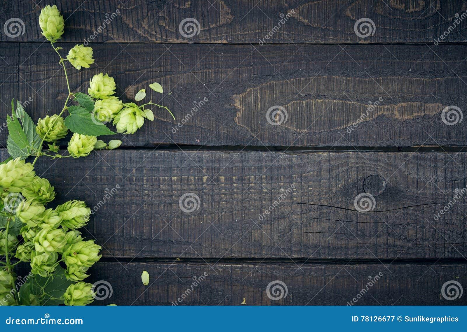 La frontera del salto verde ramifica en fondo de madera rústico oscuro