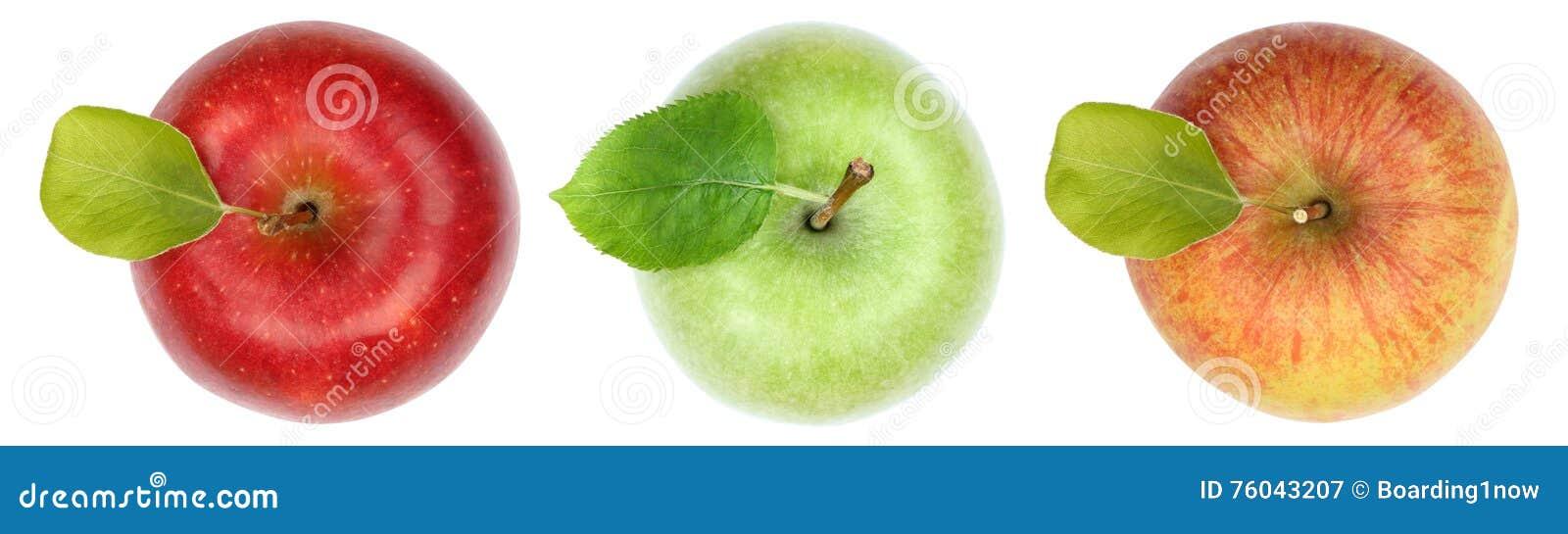 La fruta de la manzana de las manzanas da fruto visión superior aislada en blanco