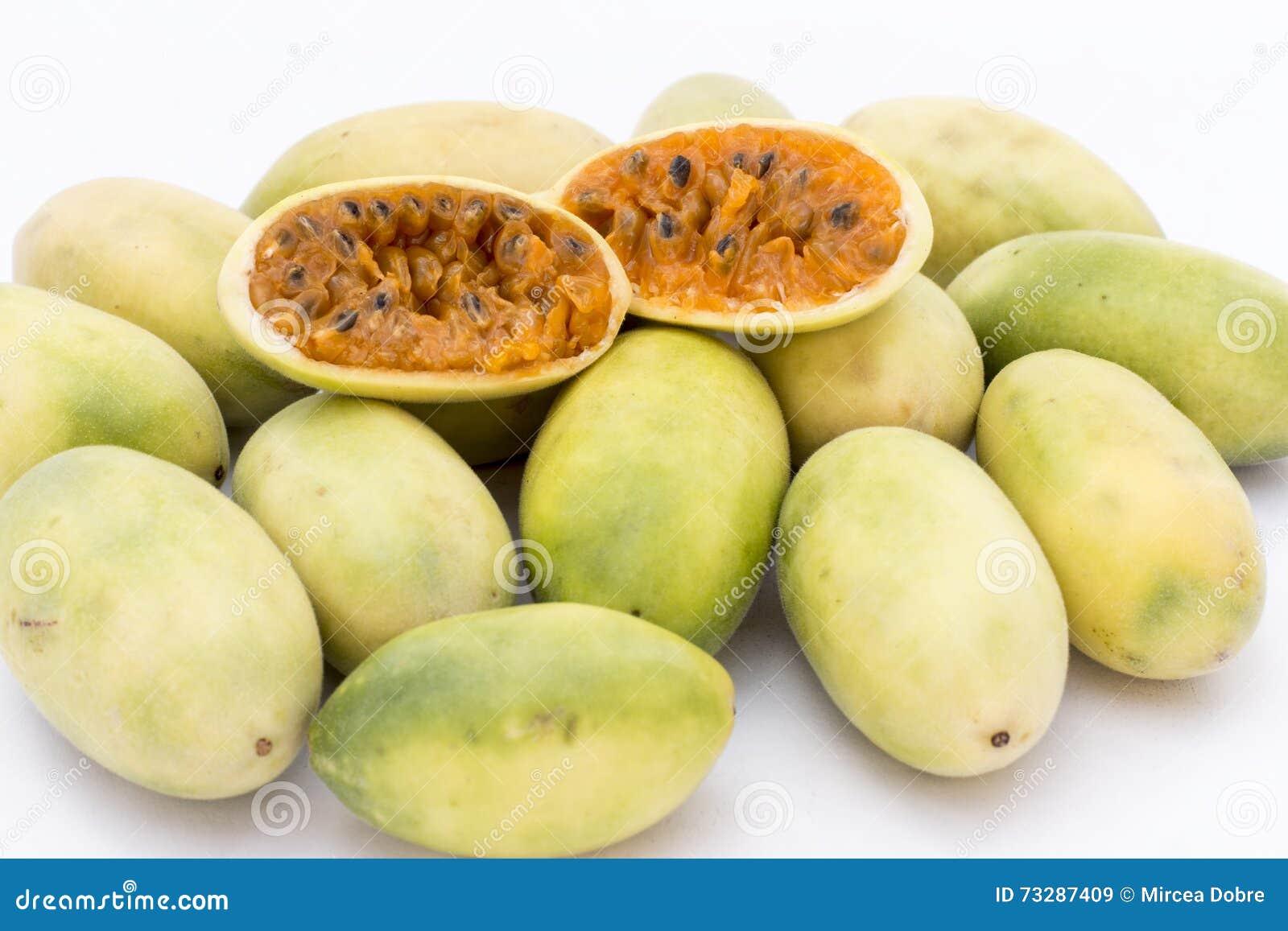 La frutta dell America latina ha chiamato il passionfruit della banana (lat Tripartita della passiflora) (in tumbo dello Spagnolo