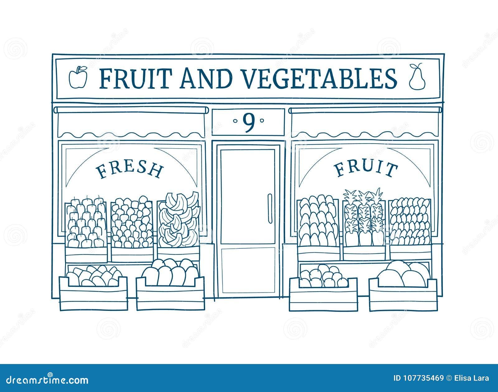 La frutta e le verdure immagazzinano l illustrazione disegnata a mano di vettore della facciata