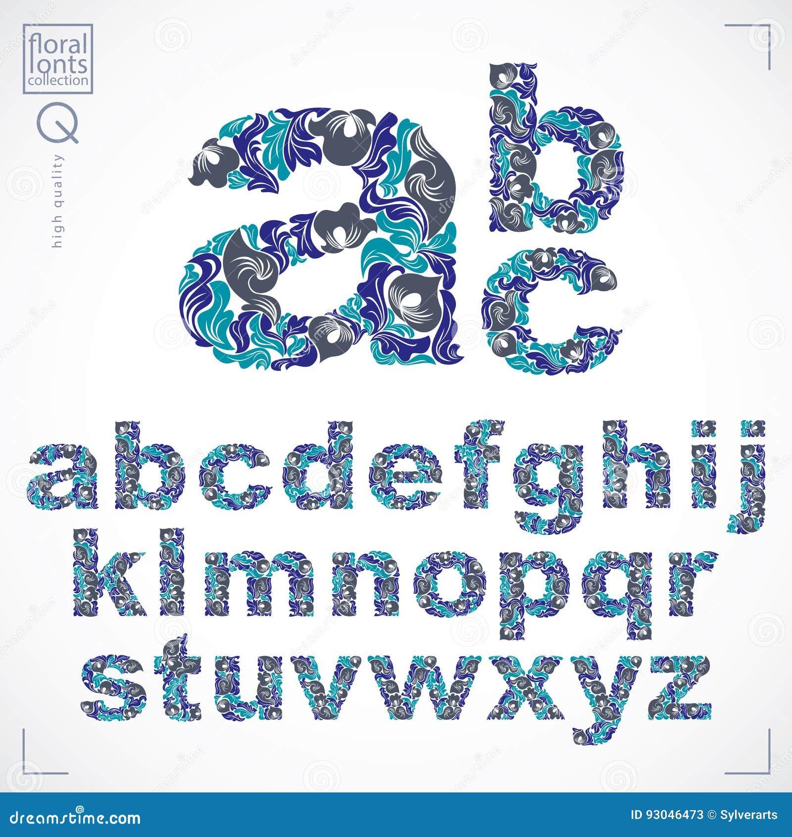 La fuente floral, alfabeto minúsculo del vector a mano pone letras a decoros