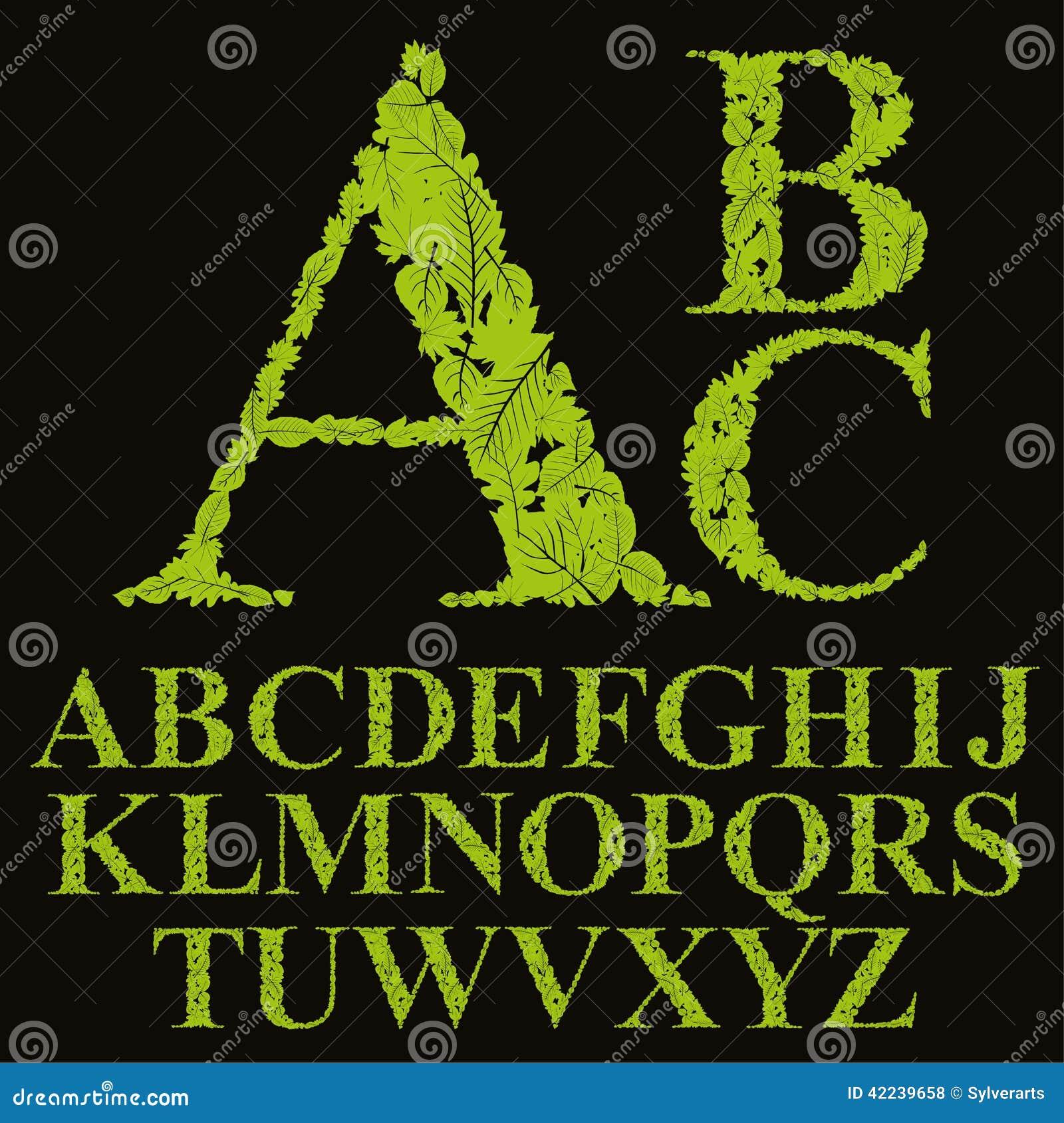 La fuente floral hecha con las hojas, las letras naturales del alfabeto fijó, vect
