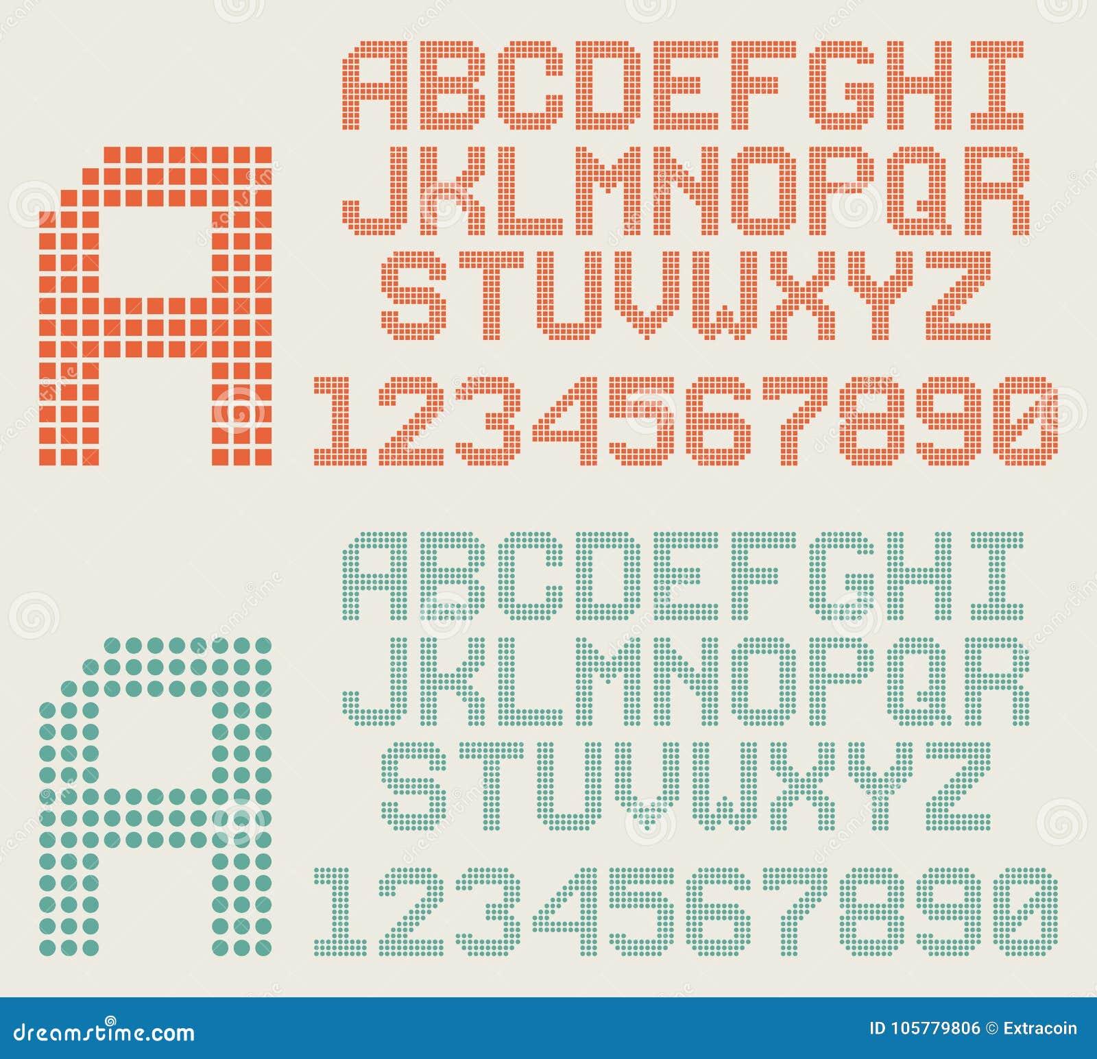 La fuente, las letras del pixel y los números retros, puntearon alfabeto
