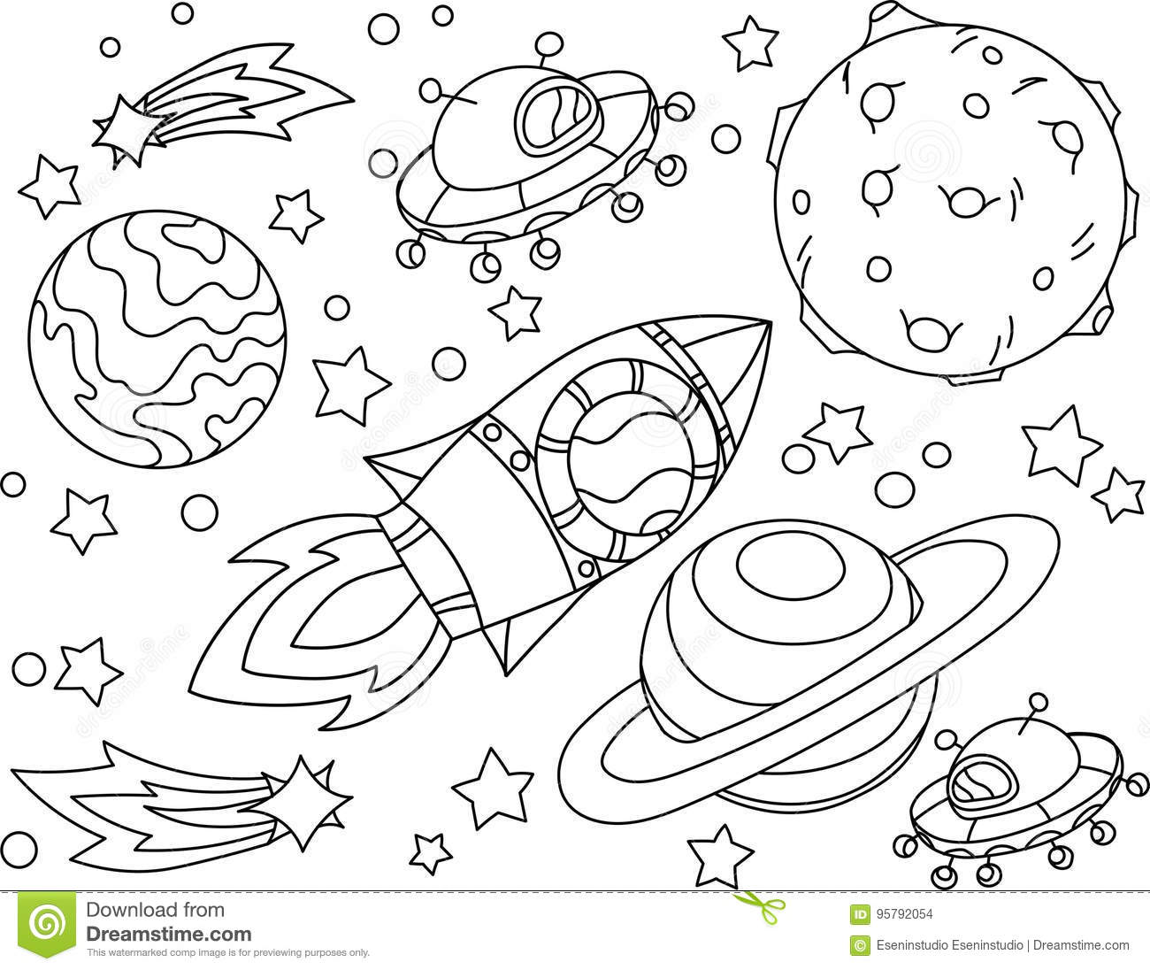 Coloriage Simple Fusee.La Fusee Vole A Livre De Coloriage De Lune Illustration Antistress