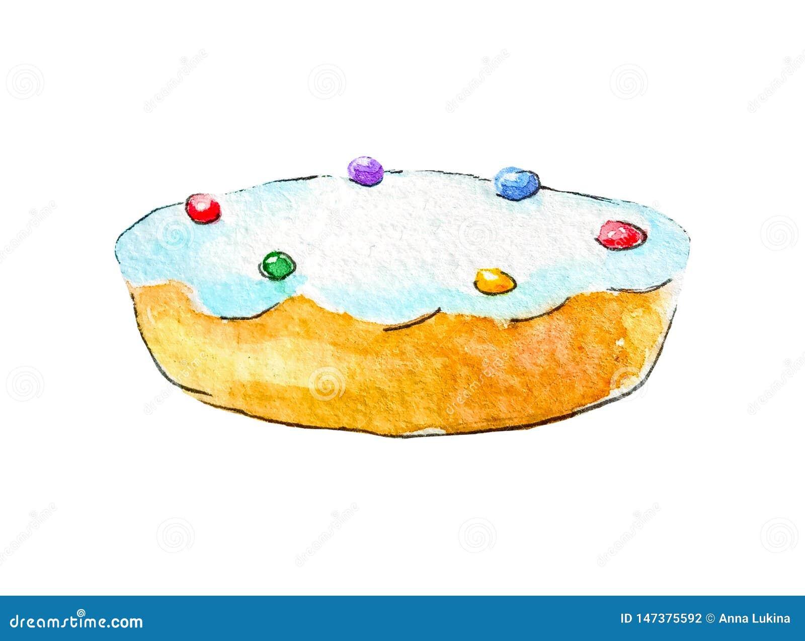 La galleta de la empanada de la torta de esponja de la acuarela esmaltó el top con el polvo de bolas multicoloras en un fondo bla
