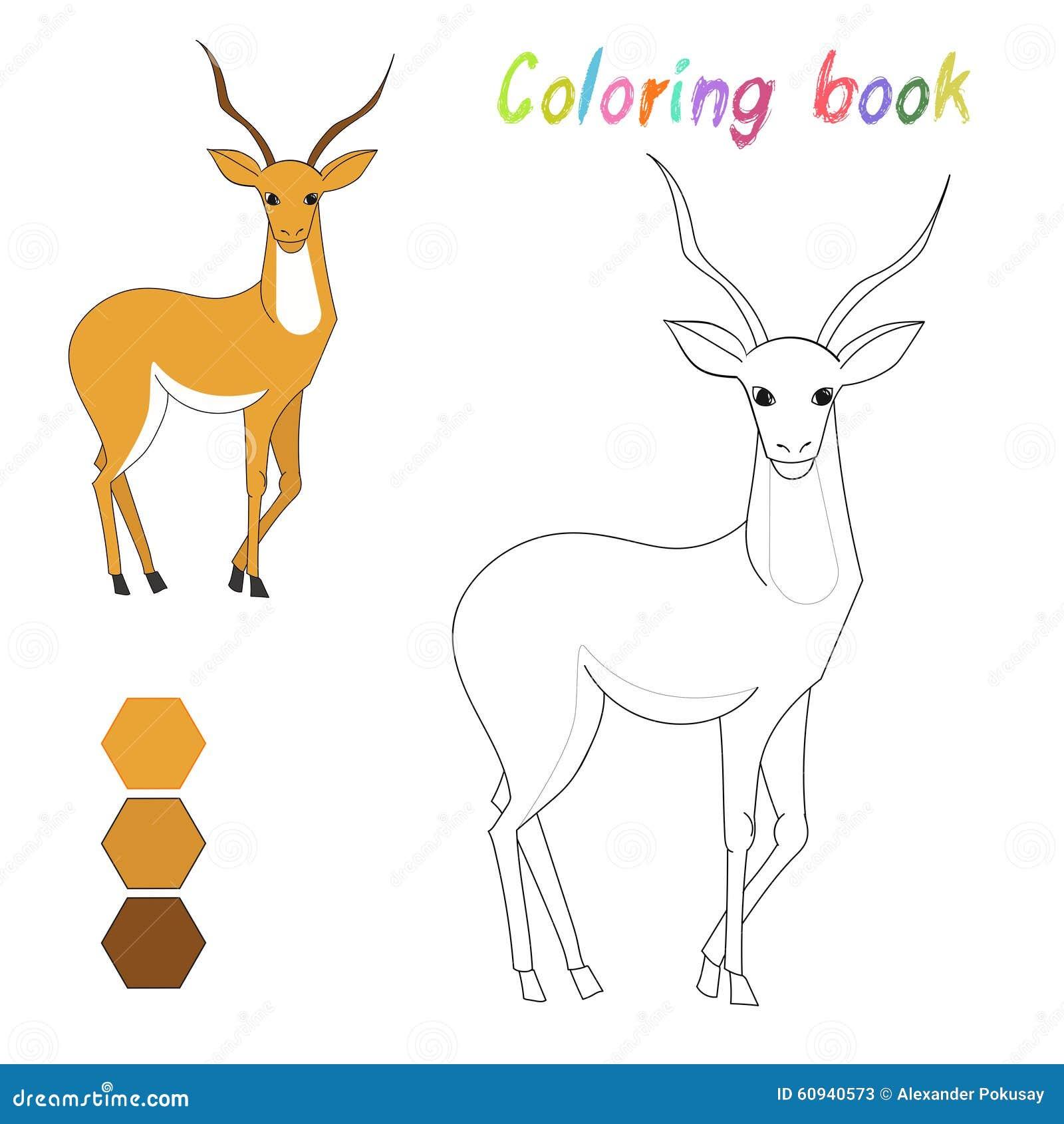La gazelle de livre de coloriage badine la disposition pour le jeu illustration de vecteur - Gazelle dessin ...