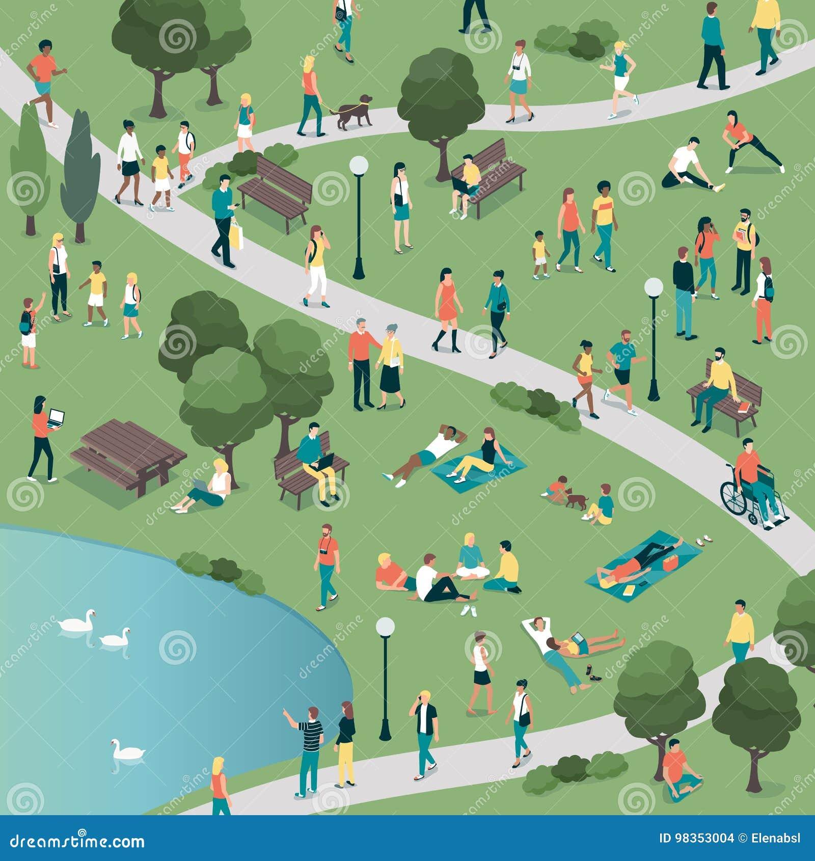 La gente al parco della città