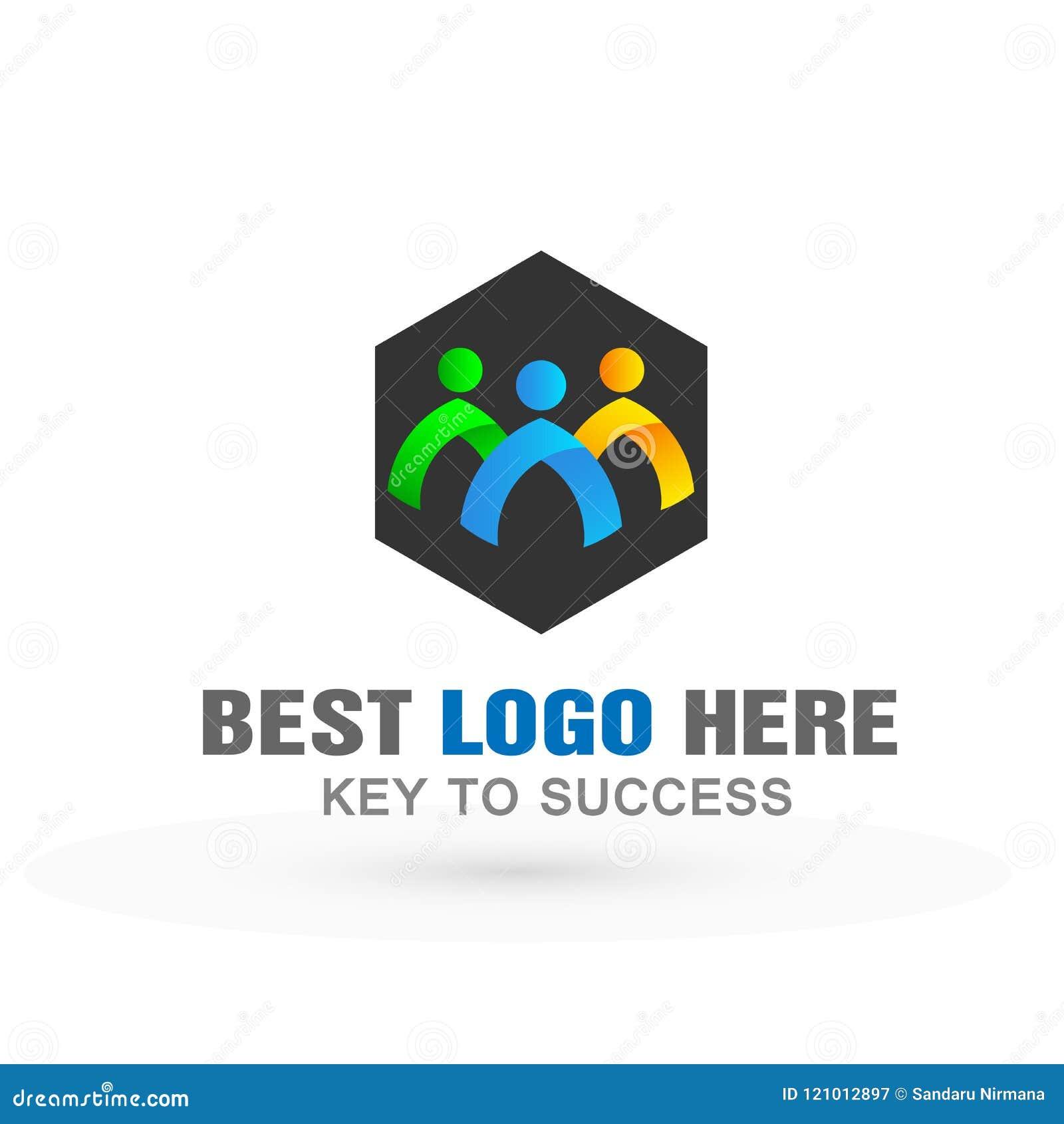 La gente combina el icono del logotipo del coporate del grupo de trabajo para el negocio en el fondo blanco